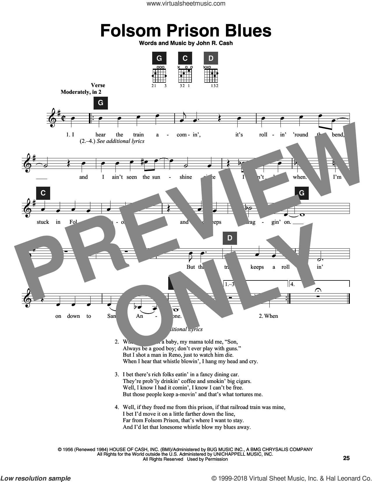 Folsom Prison Blues sheet music for guitar solo (ChordBuddy system) by Johnny Cash and Travis Perry. Score Image Preview.