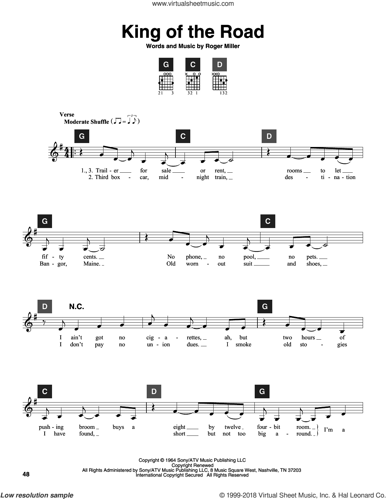 King Of The Road sheet music for guitar solo (ChordBuddy system) by Roger Miller and Randy Travis. Score Image Preview.