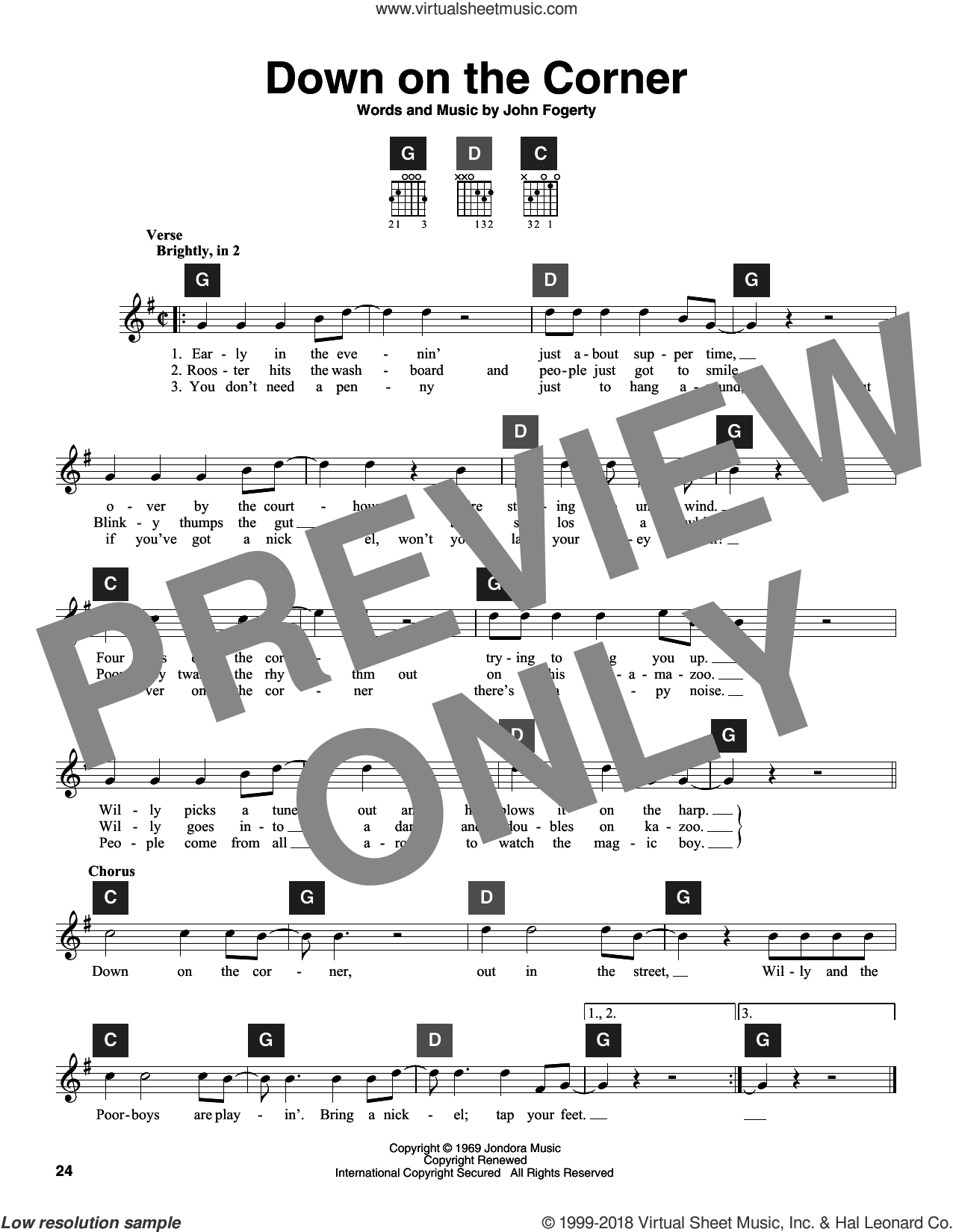 Down On The Corner sheet music for guitar solo (ChordBuddy system) by John Fogerty and Creedence Clearwater Revival. Score Image Preview.