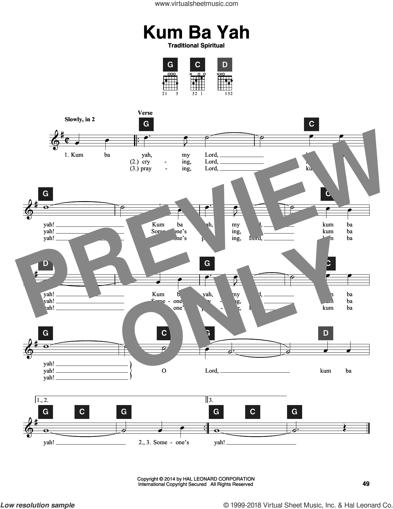 Kum Ba Yah sheet music for guitar solo (ChordBuddy system)  and Travis Perry, intermediate guitar (ChordBuddy system)