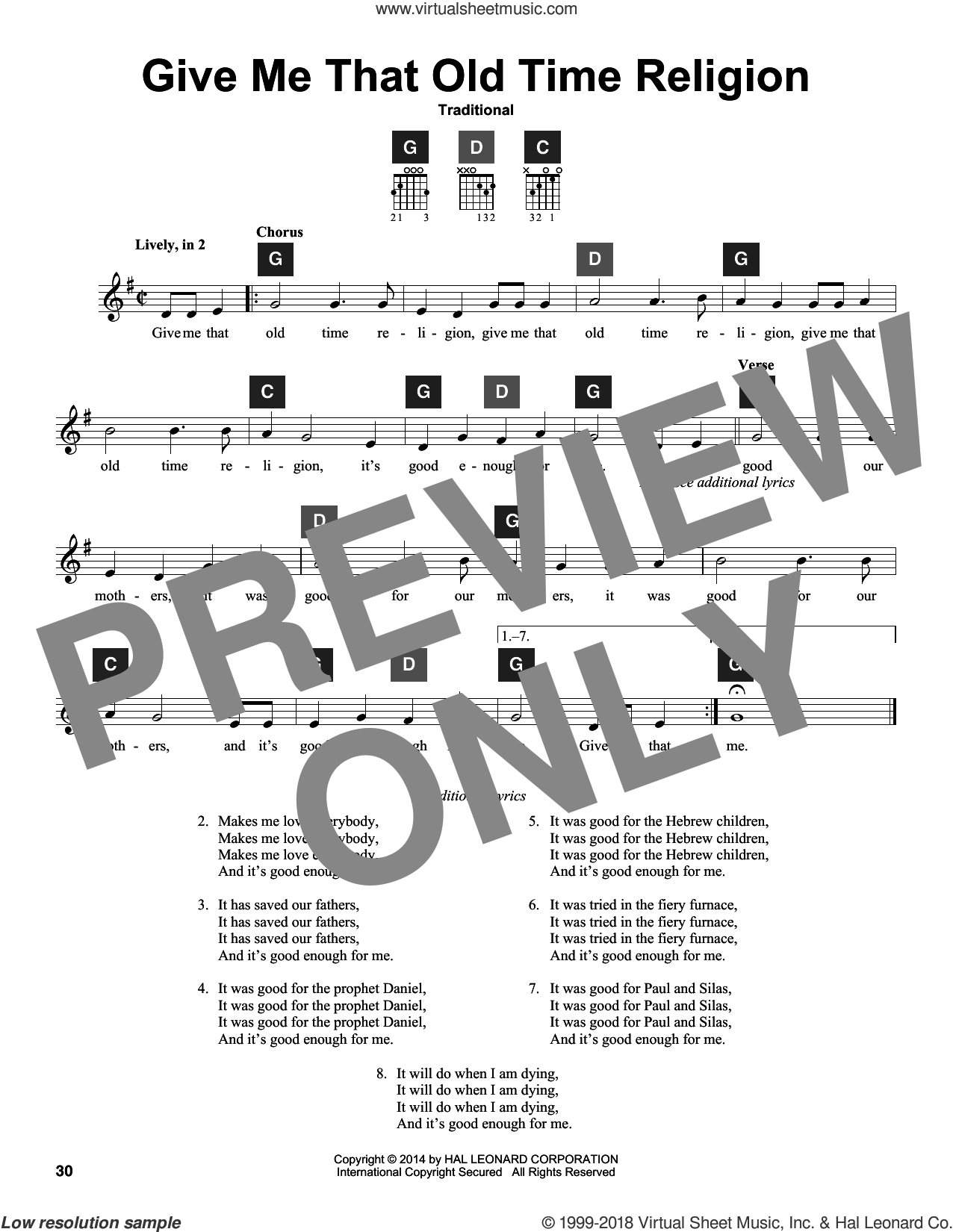 Give Me That Old Time Religion sheet music for guitar solo (ChordBuddy system)  and Travis Perry, intermediate guitar (ChordBuddy system). Score Image Preview.