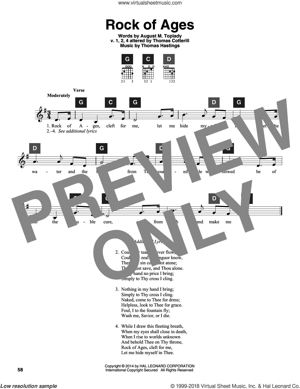 Rock Of Ages sheet music for guitar solo (ChordBuddy system) by V.1,2,4 Thomas Cotterill, Augustus M. Toplady and Thomas Hastings. Score Image Preview.