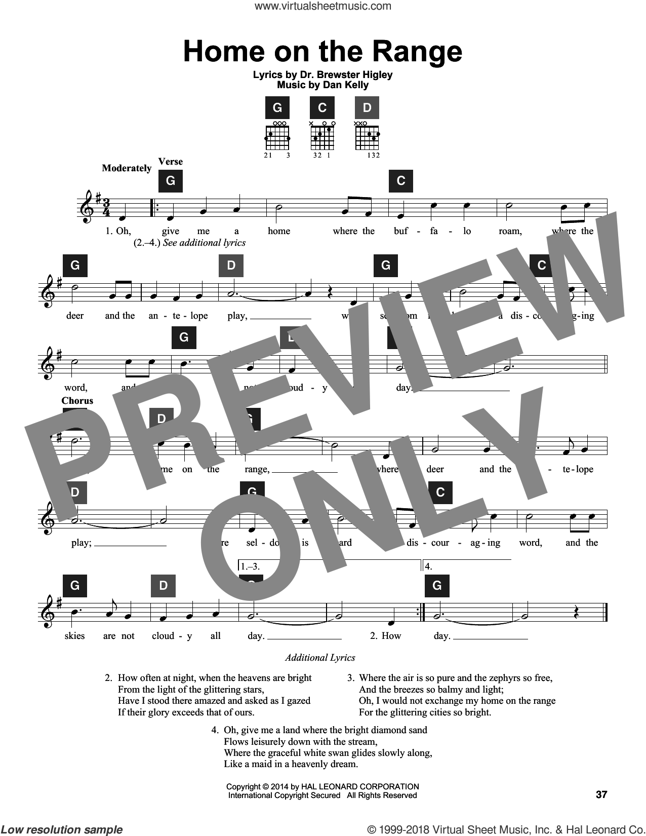 Home On The Range sheet music for guitar solo (ChordBuddy system) by Dr. Brewster Higley and Dan Kelly. Score Image Preview.