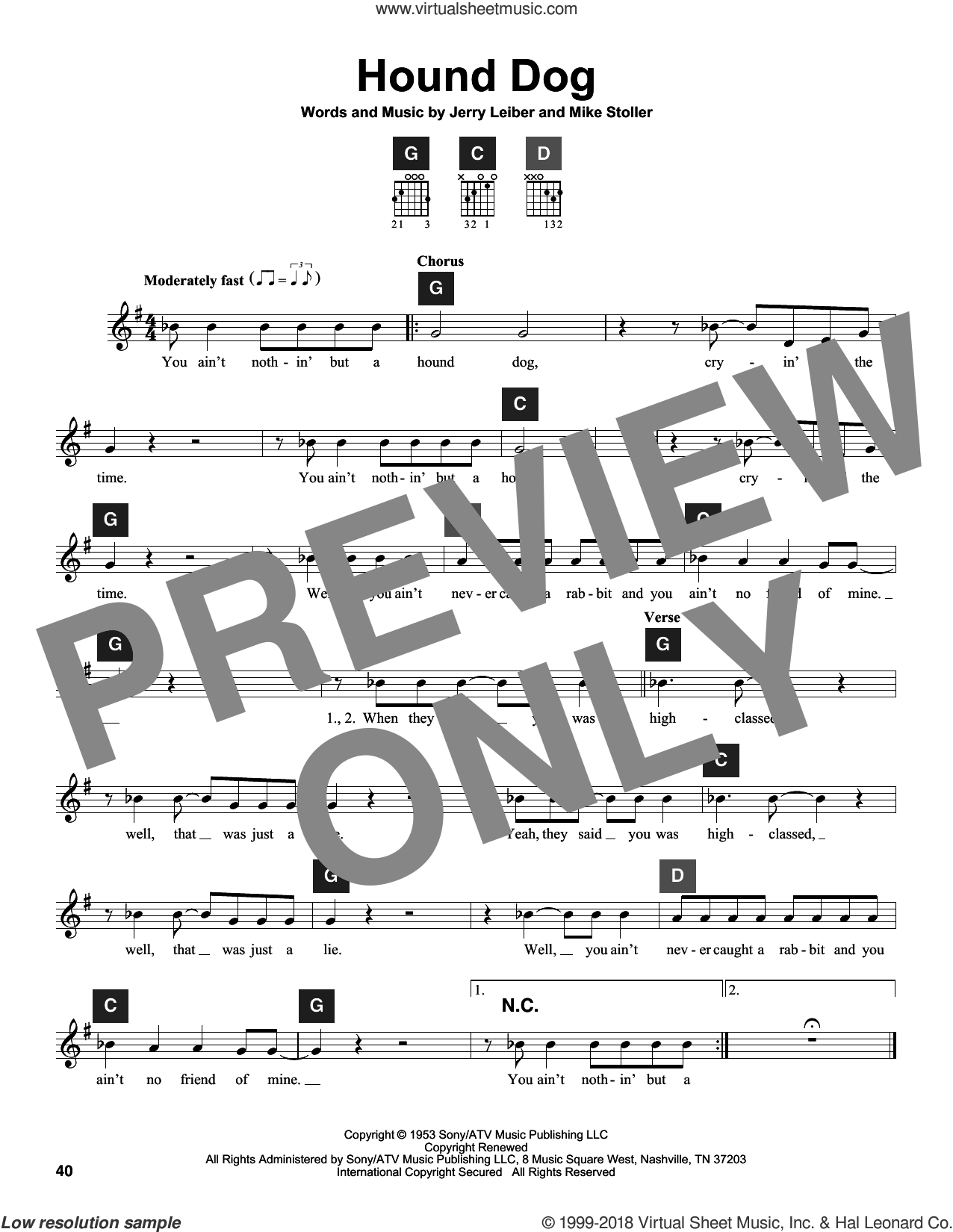 Presley Hound Dog Sheet Music For Guitar Solo Chordbuddy System