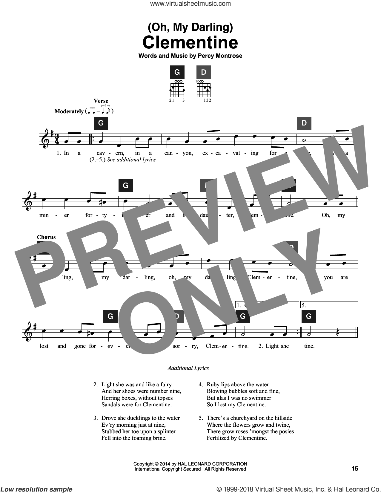 (Oh, My Darling) Clementine sheet music for guitar solo (ChordBuddy system) by Percy Montrose and Travis Perry, intermediate guitar (ChordBuddy system)