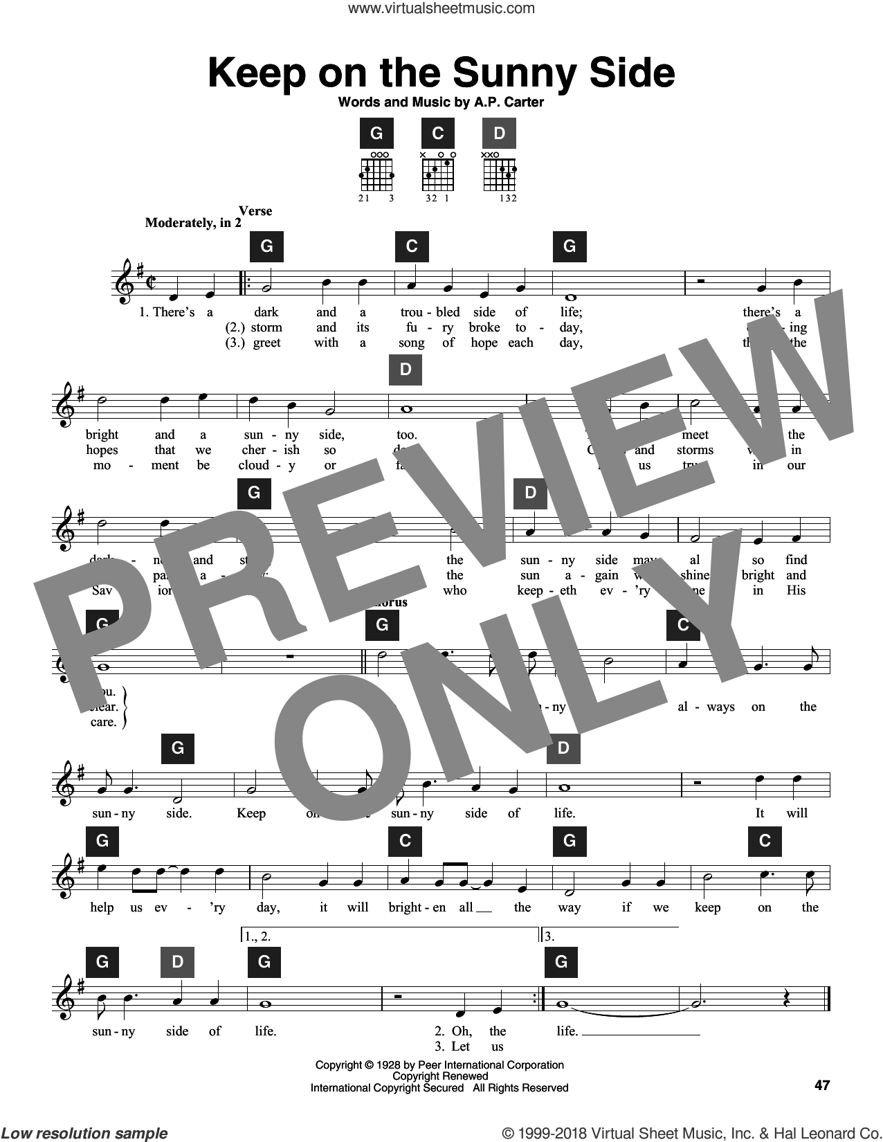 Keep On The Sunny Side sheet music for guitar solo (ChordBuddy system) by A.P. Carter and The Carter Family. Score Image Preview.