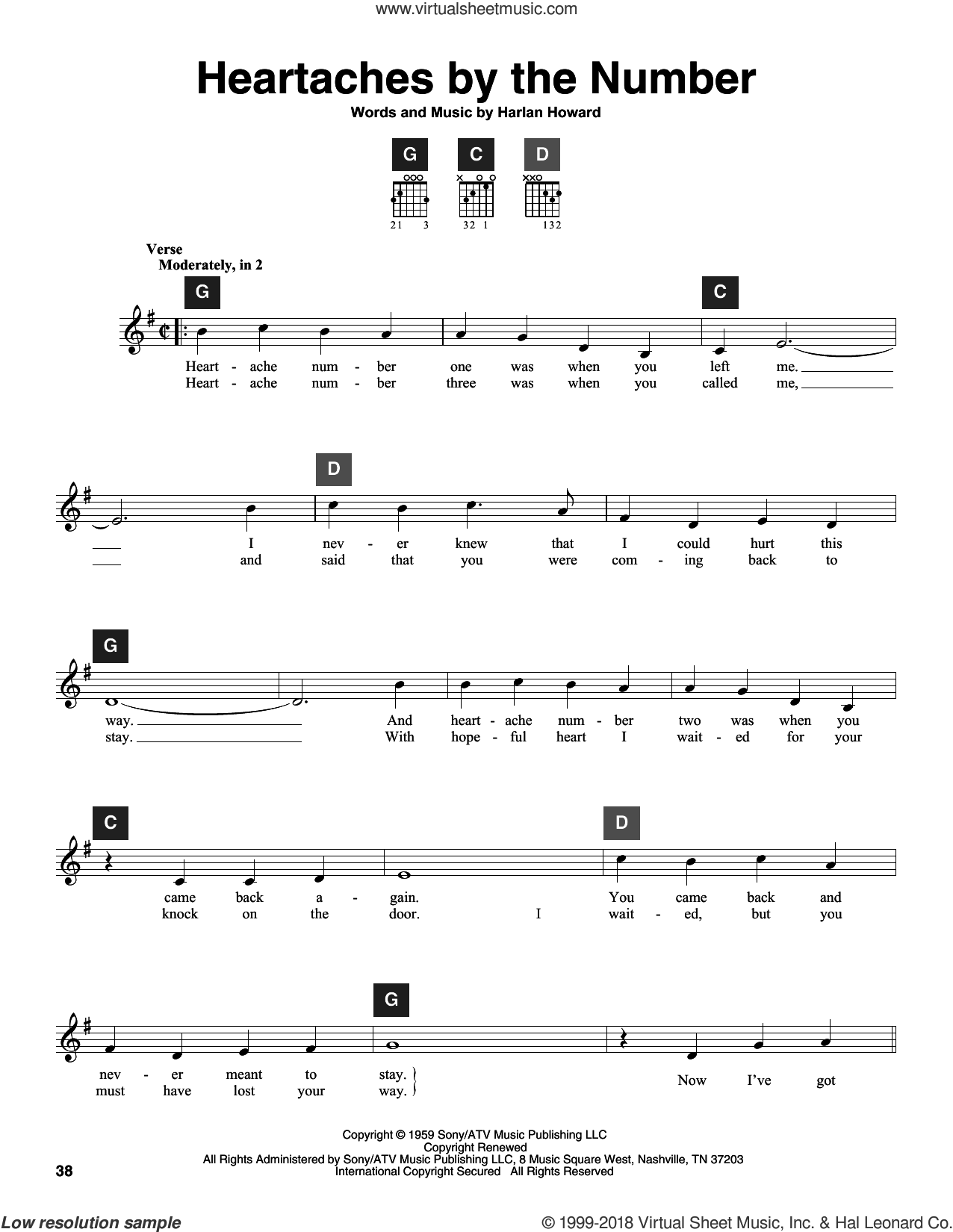 Heartaches By The Number sheet music for guitar solo (ChordBuddy system) by Ray Price, Guy Mitchell, Travis Perry and Harlan Howard, intermediate guitar (ChordBuddy system)