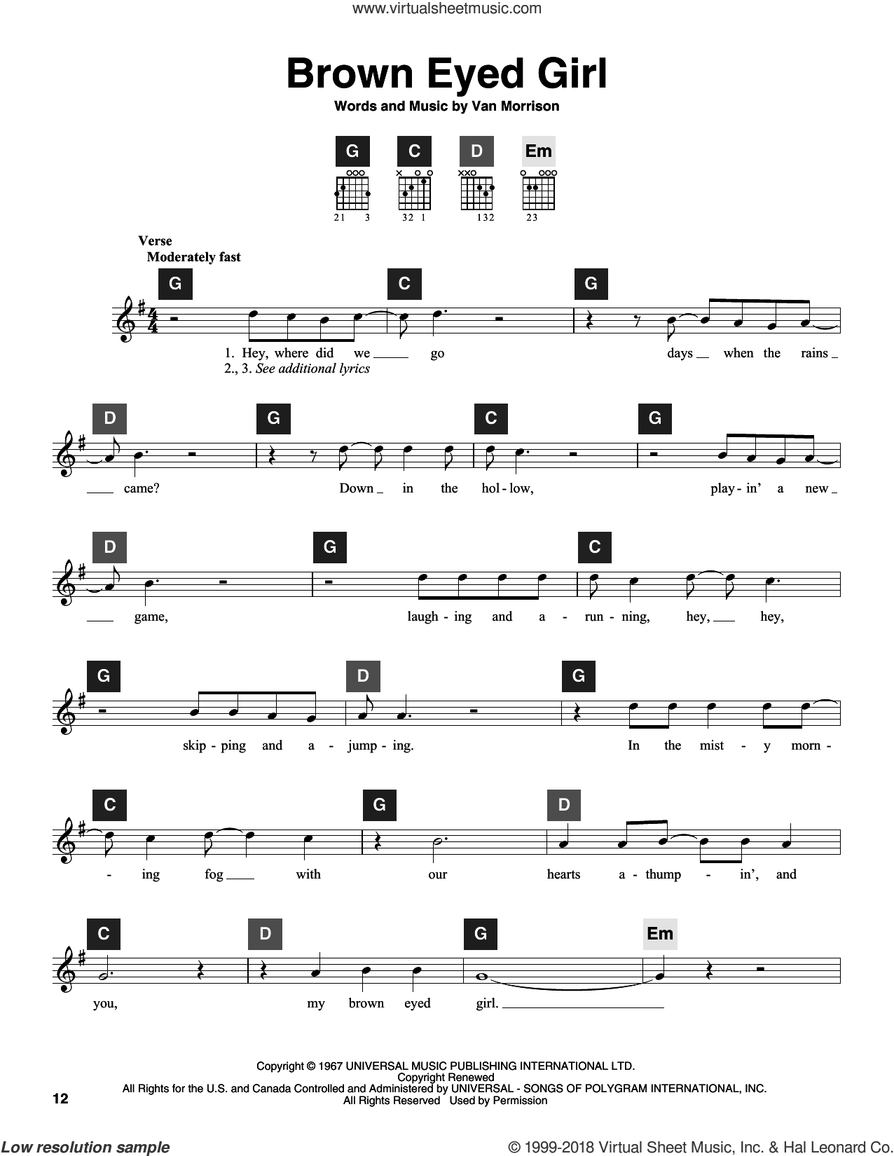 Brown Eyed Girl sheet music for guitar solo (ChordBuddy system) by Van Morrison and Travis Perry, intermediate guitar (ChordBuddy system)