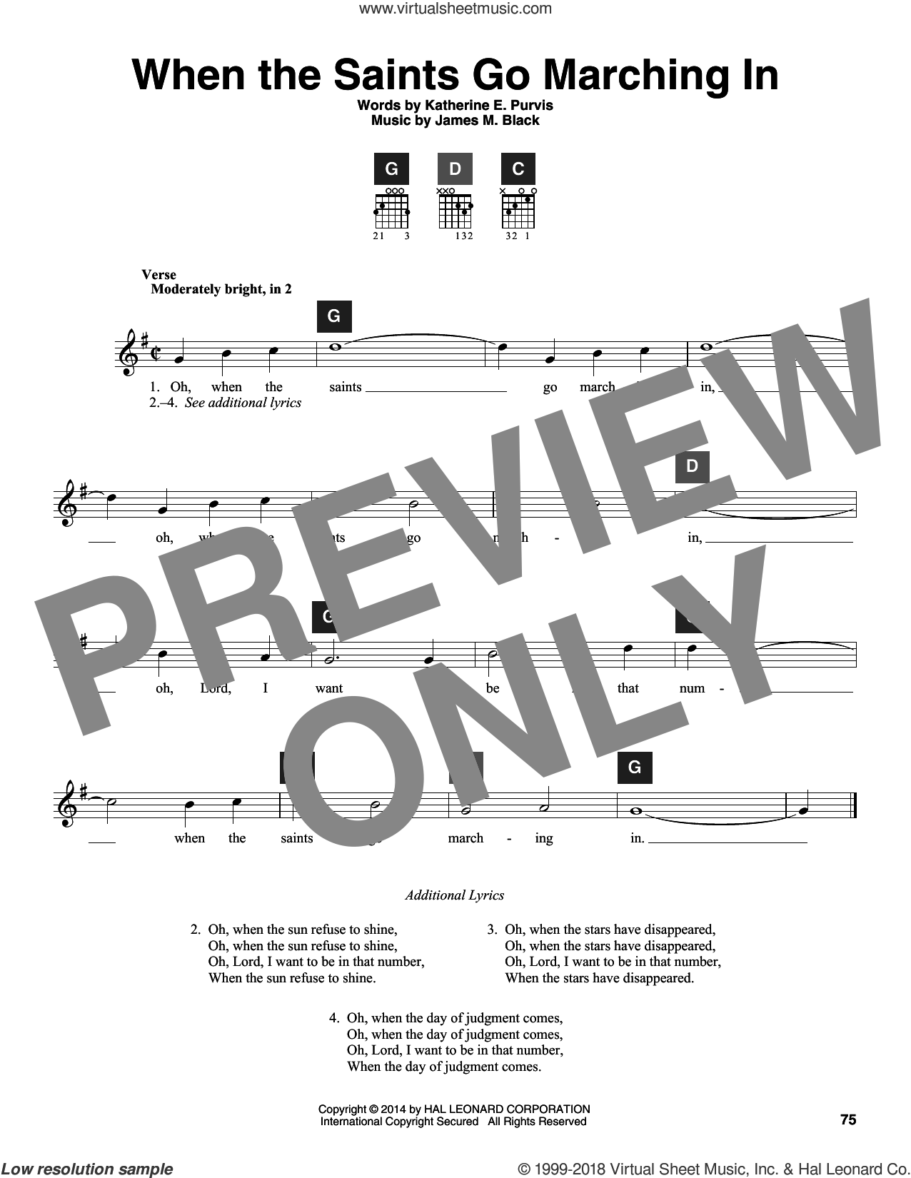 When The Saints Go Marching In sheet music for guitar solo (ChordBuddy system) by James M. Black, Travis Perry and Katherine E. Purvis, intermediate guitar (ChordBuddy system)