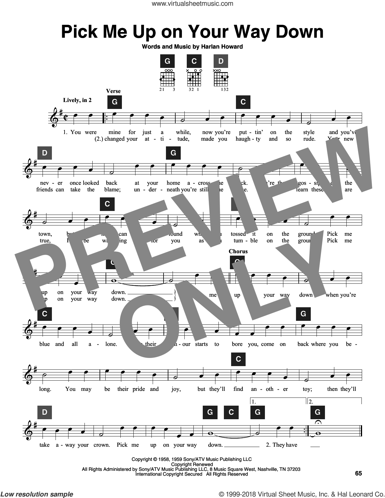 Pick Me Up On Your Way Down sheet music for guitar solo (ChordBuddy system) by Charlie Walker, Travis Perry and Harlan Howard, intermediate guitar (ChordBuddy system)