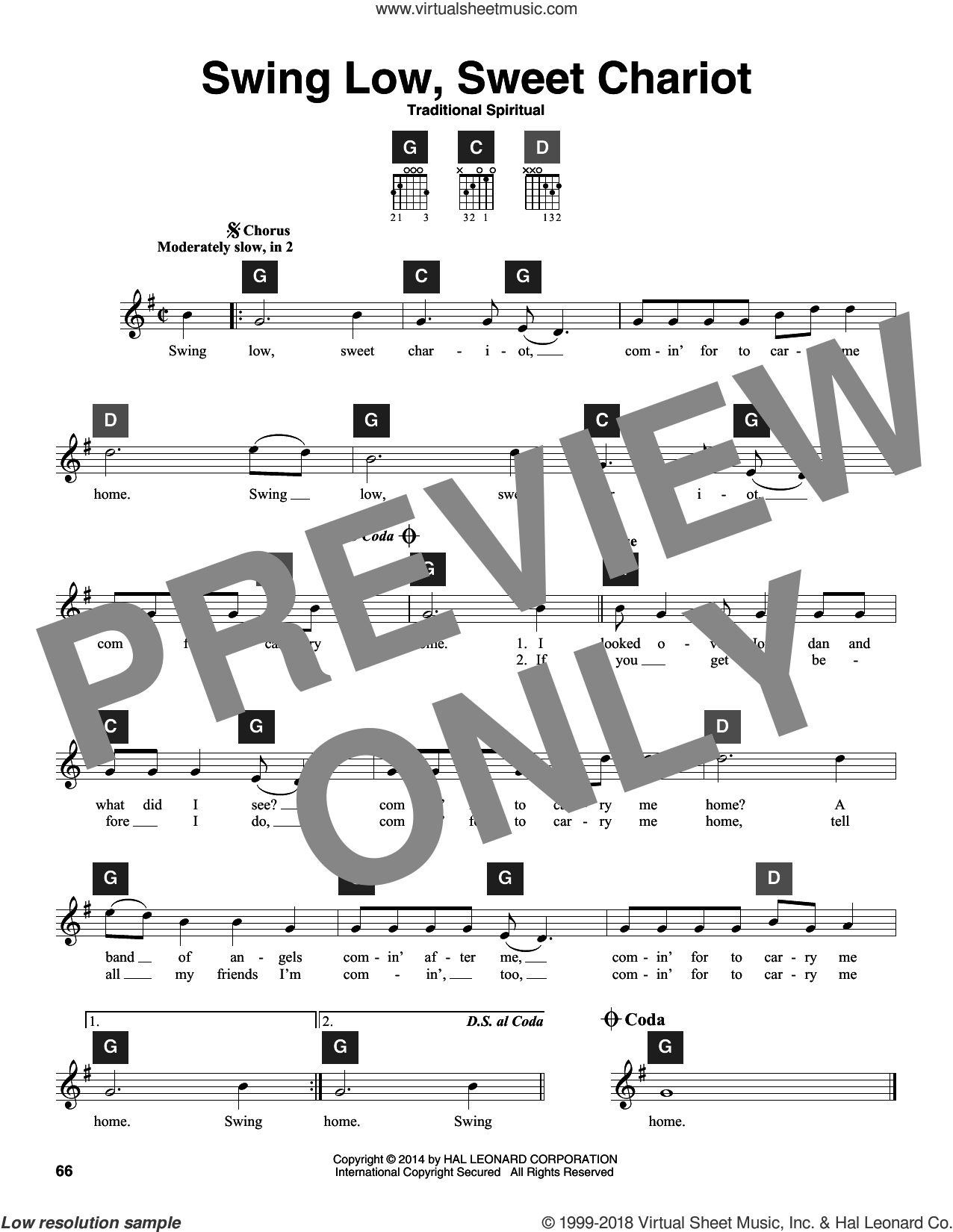Swing Low, Sweet Chariot sheet music for guitar solo (ChordBuddy system). Score Image Preview.