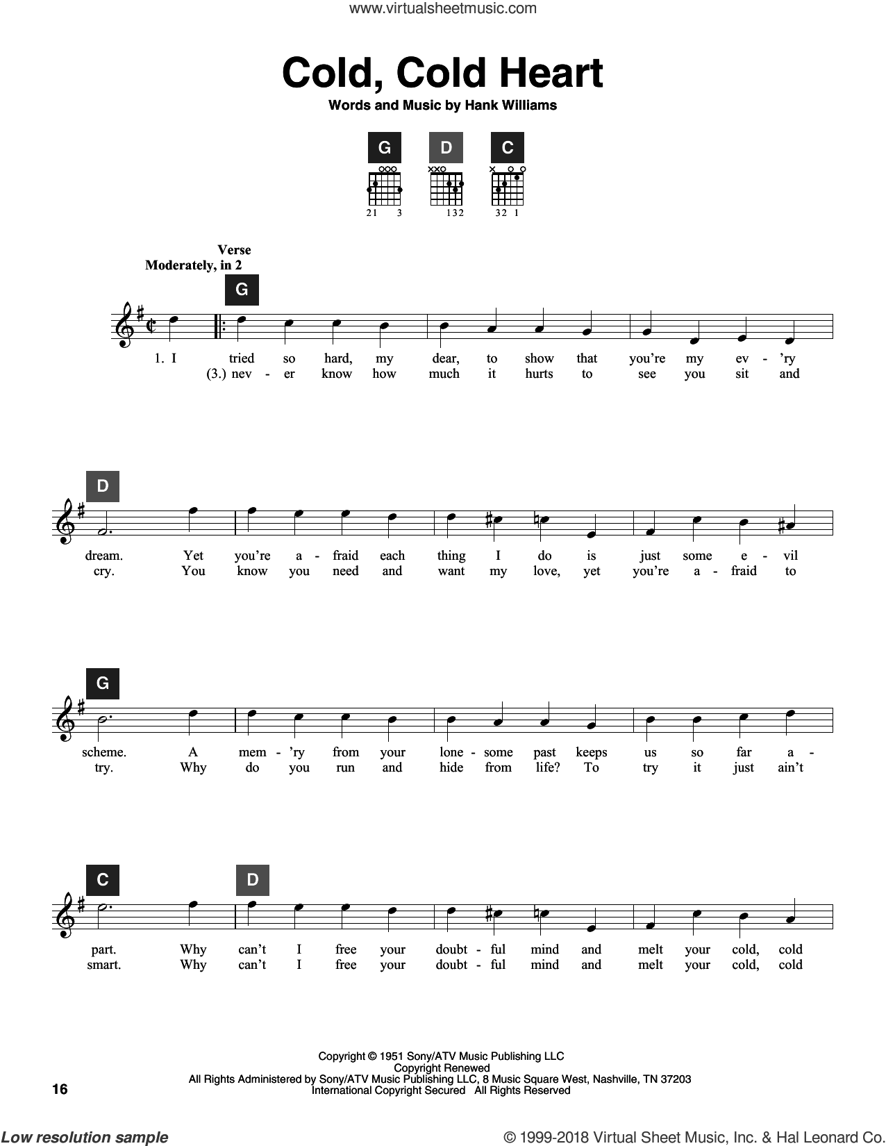 Cold, Cold Heart sheet music for guitar solo (ChordBuddy system) by Hank Williams