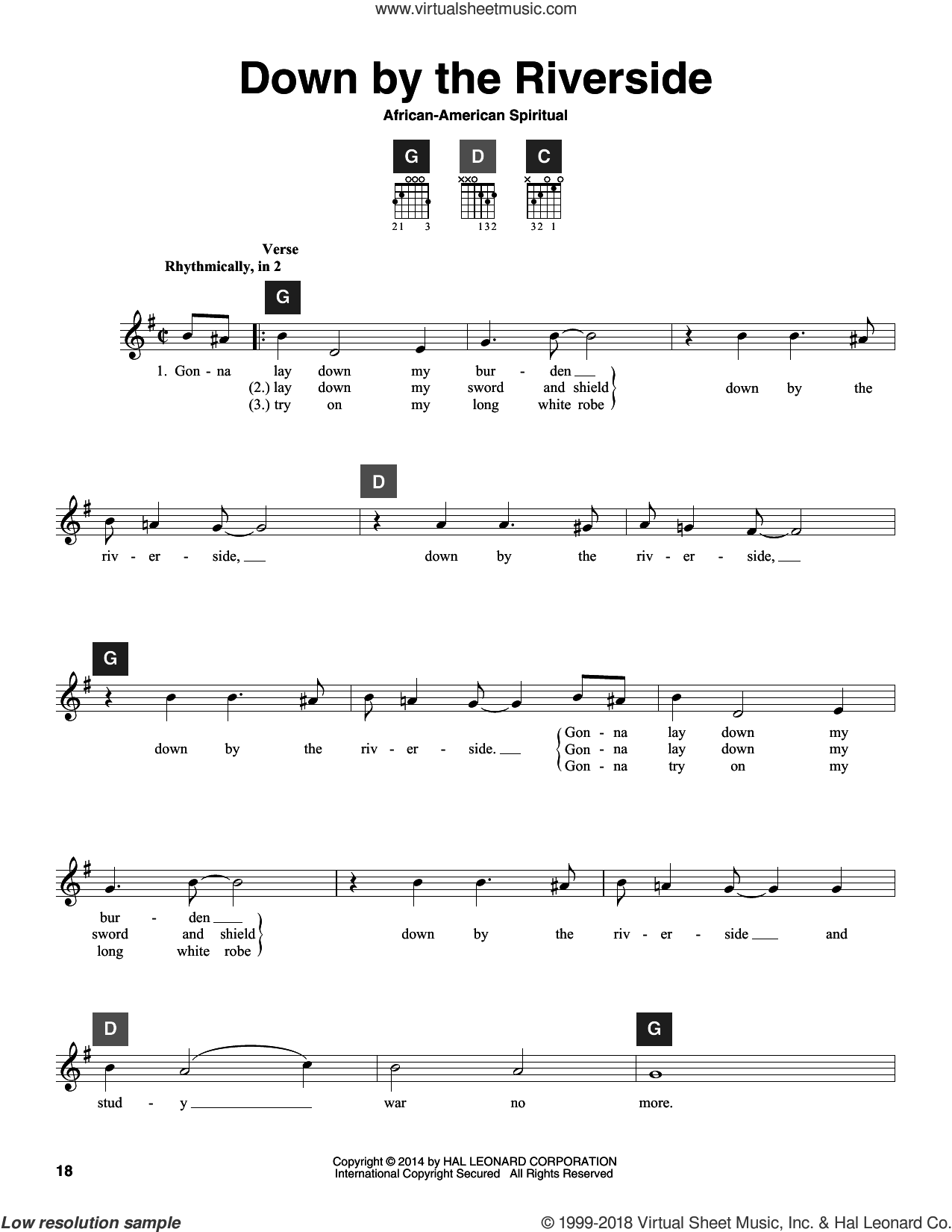 Down By The Riverside sheet music for guitar solo (ChordBuddy system). Score Image Preview.