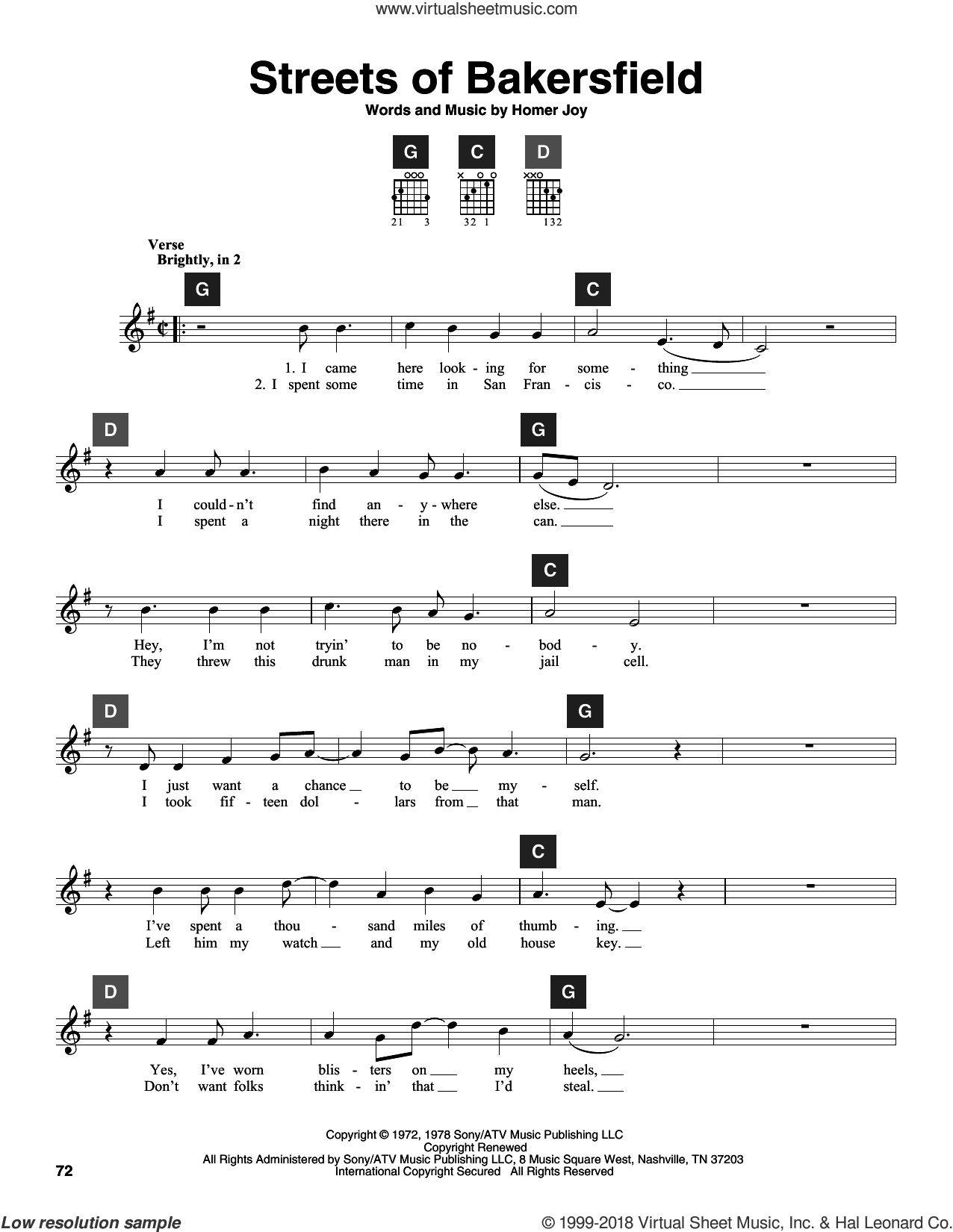 Streets Of Bakersfield sheet music for guitar solo (ChordBuddy system) by Dwight Yoakam & Buck Owens and Travis Perry, intermediate guitar (ChordBuddy system). Score Image Preview.
