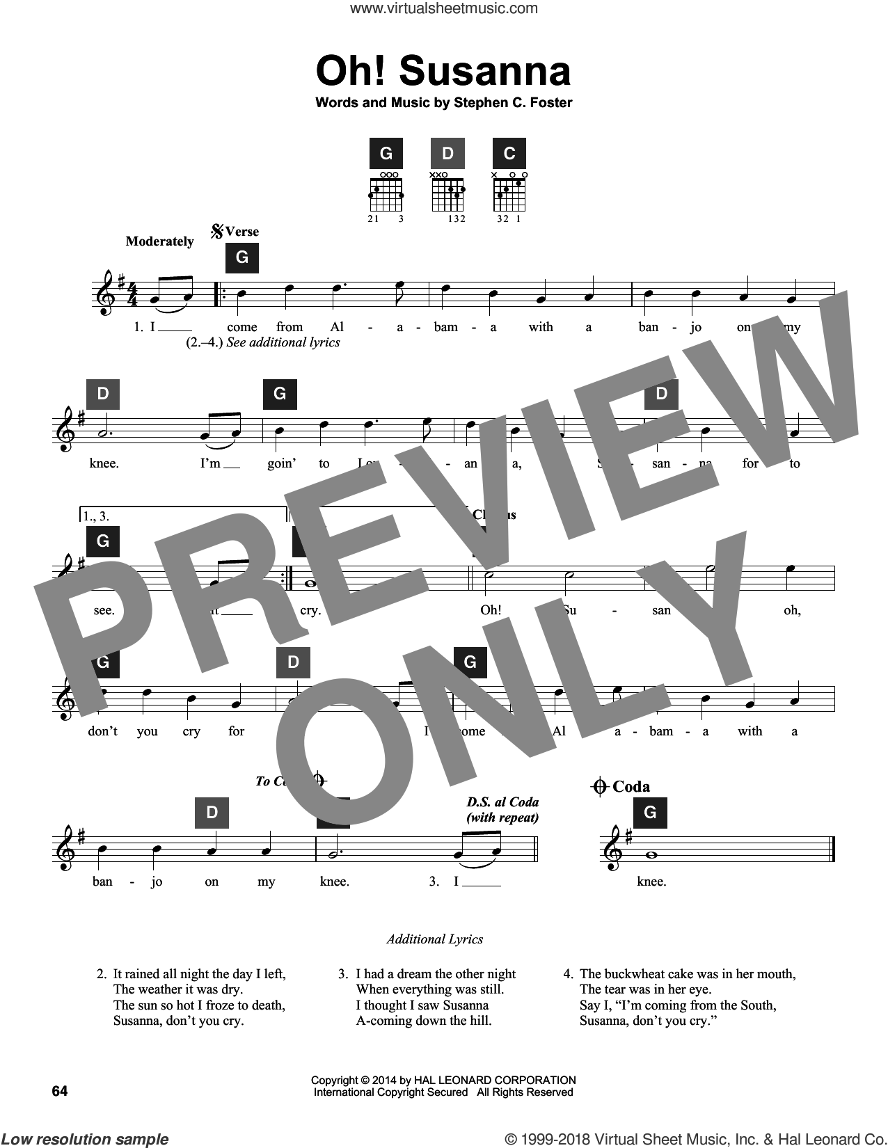 Oh! Susanna sheet music for guitar solo (ChordBuddy system) by Stephen Foster
