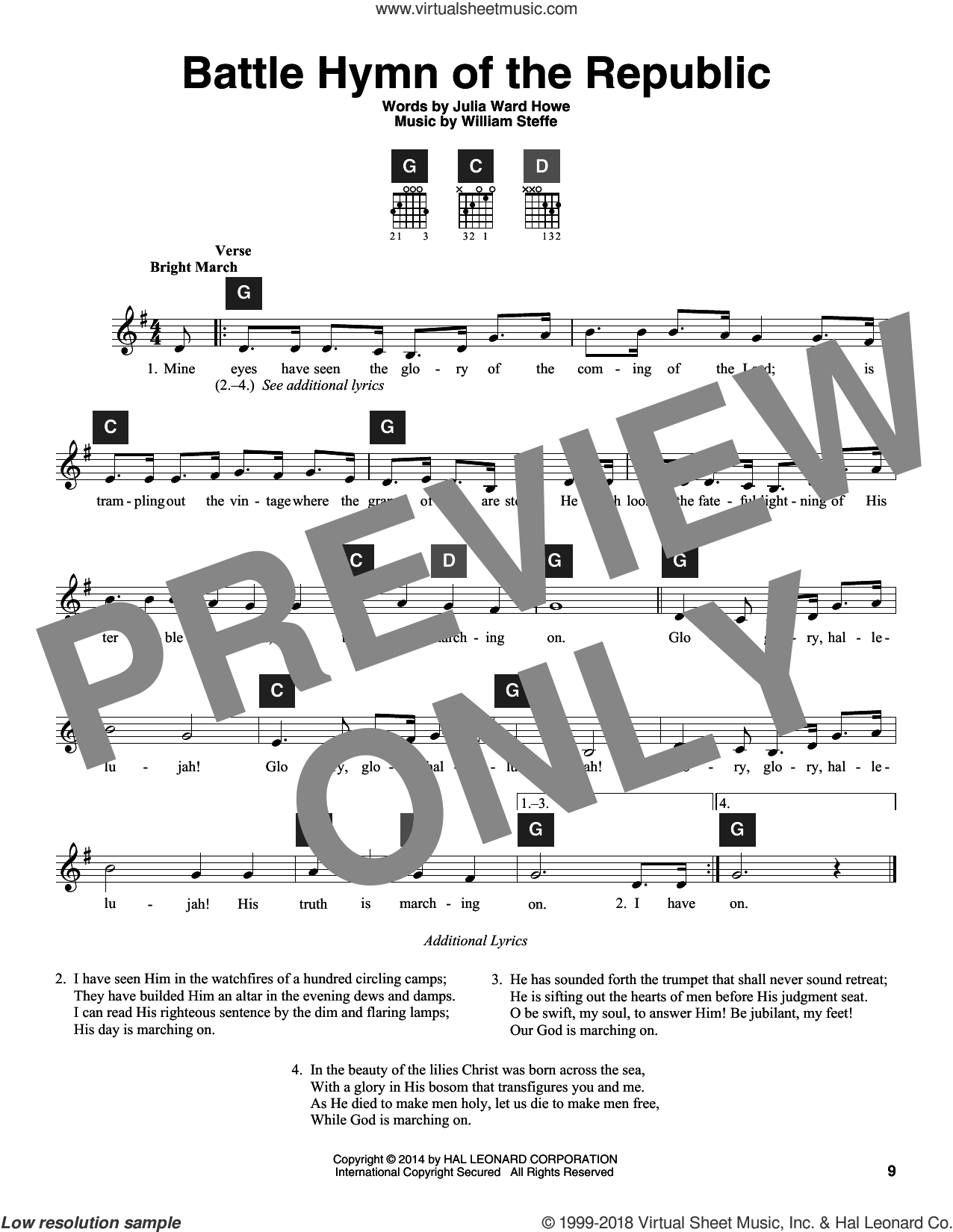Battle Hymn Of The Republic sheet music for guitar solo (ChordBuddy system) by Julia Ward Howe, Travis Perry and William Steffe, intermediate guitar (ChordBuddy system). Score Image Preview.