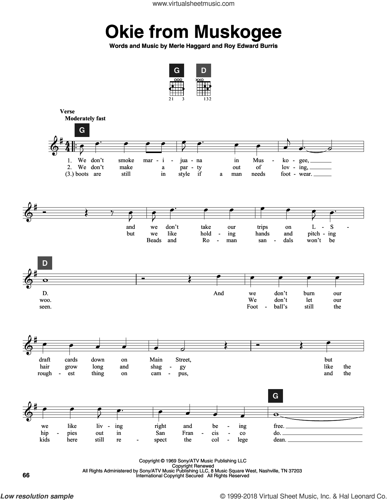 Okie From Muskogee sheet music for guitar solo (ChordBuddy system) by Merle Haggard, Travis Perry and Roy Edward Burris, intermediate guitar (ChordBuddy system). Score Image Preview.