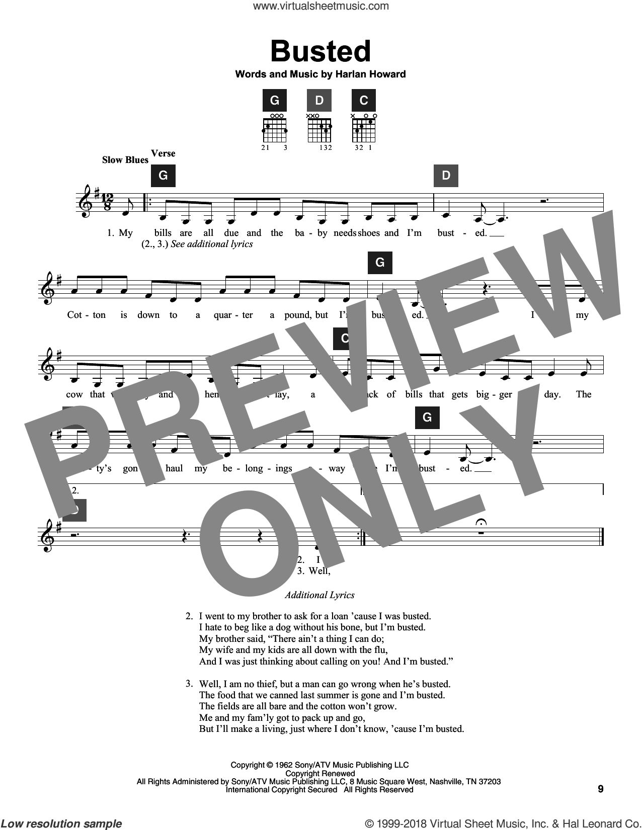 Busted sheet music for guitar solo (ChordBuddy system) by Johnny Cash, John Conlee, Ray Charles, Travis Perry and Harlan Howard, intermediate guitar (ChordBuddy system). Score Image Preview.