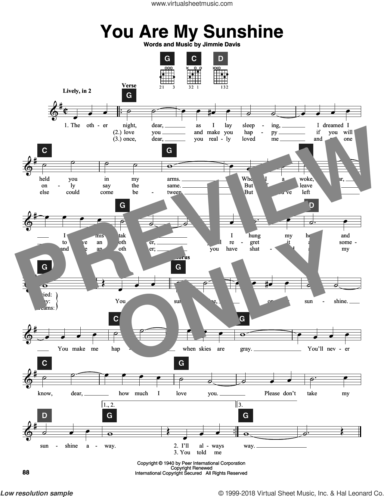 You Are My Sunshine sheet music for guitar solo (ChordBuddy system) by Jimmie Davis, Duane Eddy and Ray Charles. Score Image Preview.
