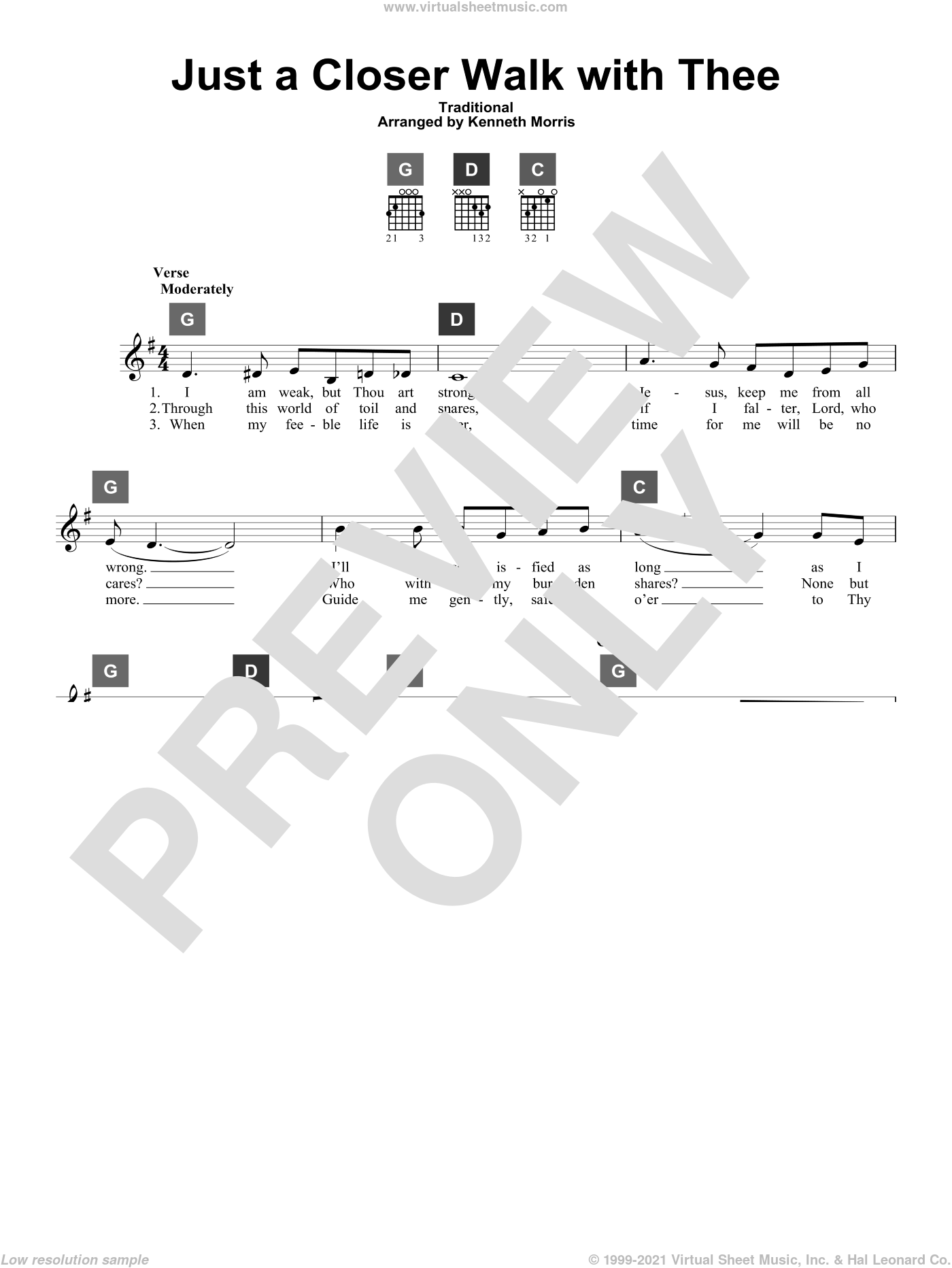Just A Closer Walk With Thee sheet music for guitar solo (ChordBuddy system)  and Kenneth Morris. Score Image Preview.