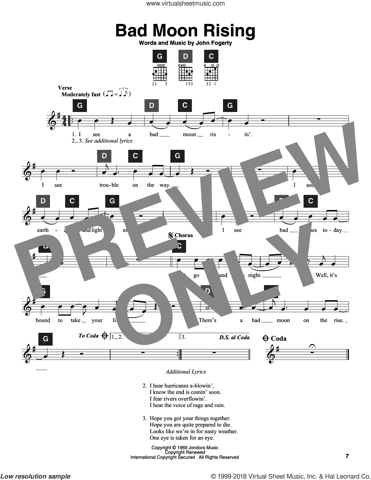 Bad Moon Rising sheet music for guitar solo (ChordBuddy system) by Creedence Clearwater Revival, Travis Perry and John Fogerty, intermediate guitar (ChordBuddy system). Score Image Preview.
