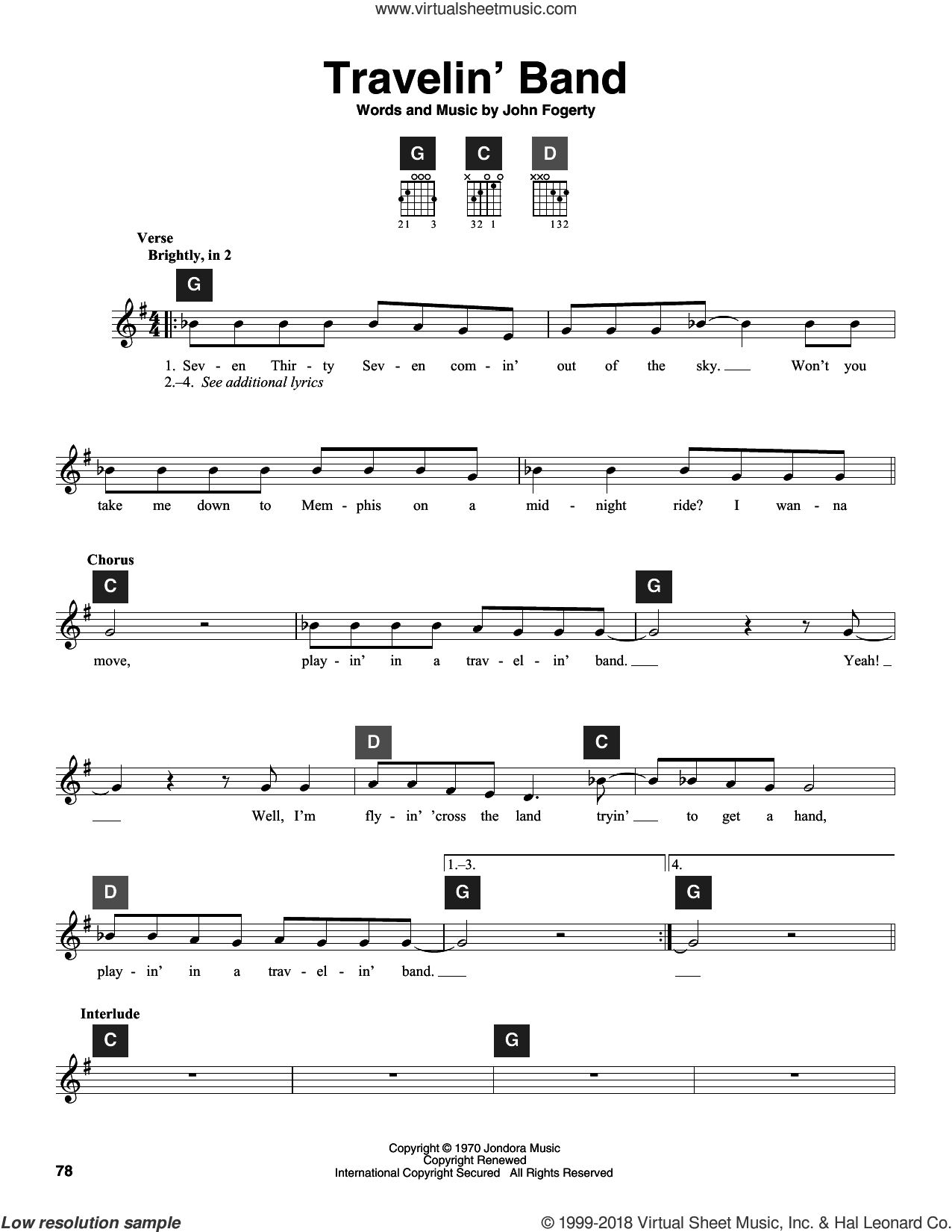 Travelin' Band sheet music for guitar solo (ChordBuddy system) by John Fogerty and Creedence Clearwater Revival. Score Image Preview.