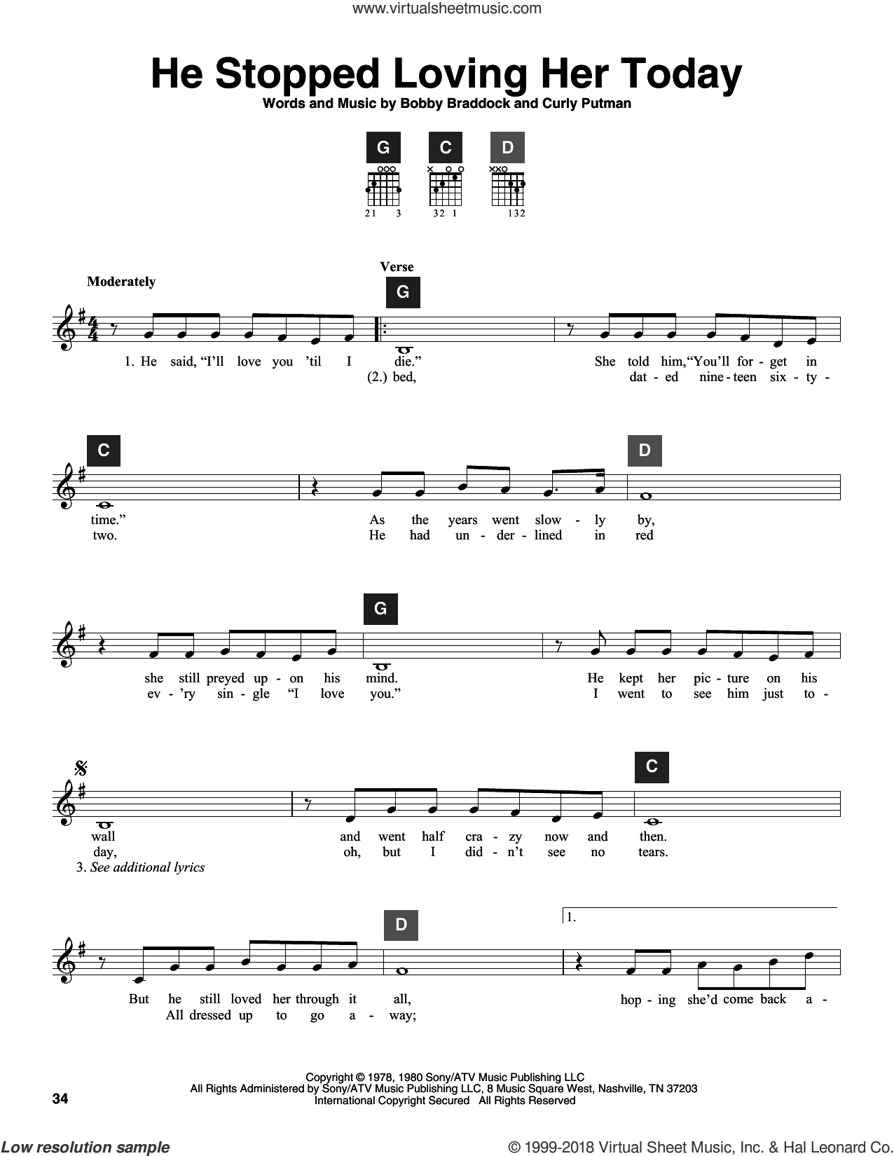 He Stopped Loving Her Today sheet music for guitar solo (ChordBuddy system) by Curly Putman, George Jones and Bobby Braddock. Score Image Preview.