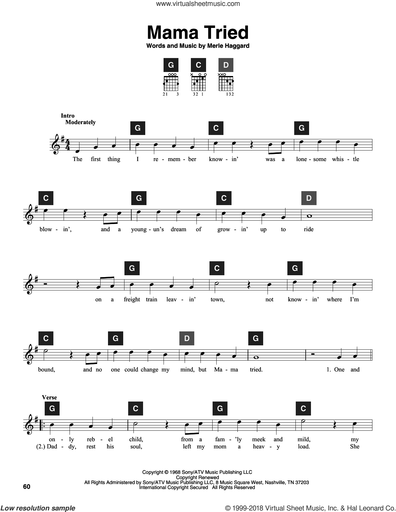 Mama Tried sheet music for guitar solo (ChordBuddy system) by Merle Haggard. Score Image Preview.