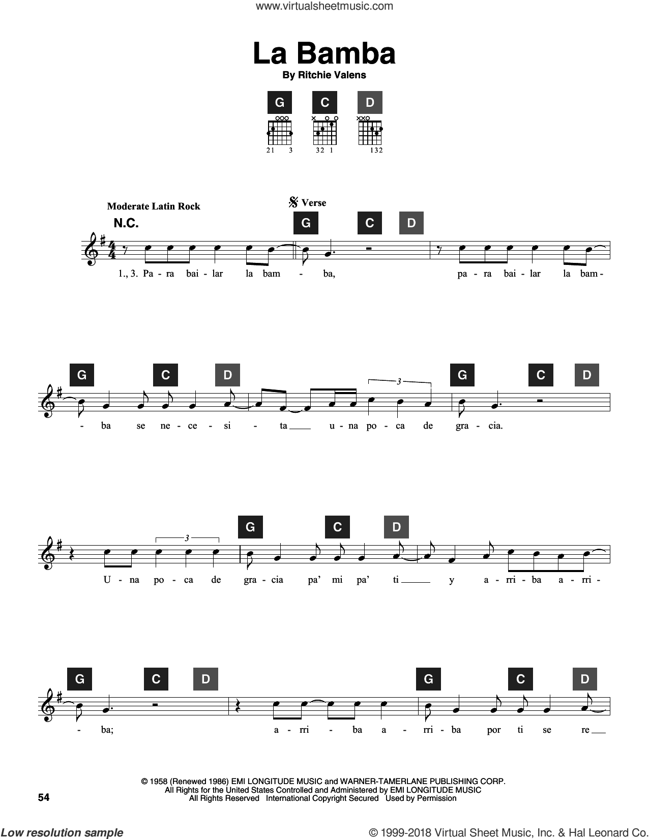 La Bamba sheet music for guitar solo (ChordBuddy system) by Ritchie Valens, Los Lobos and Travis Perry. Score Image Preview.