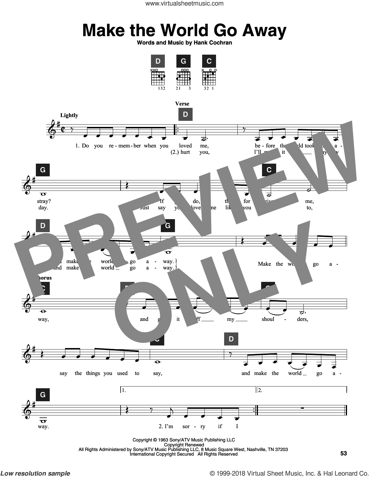Make The World Go Away sheet music for guitar solo (ChordBuddy system) by Eddy Arnold, Elvis Presley, Travis Perry and Hank Cochran. Score Image Preview.