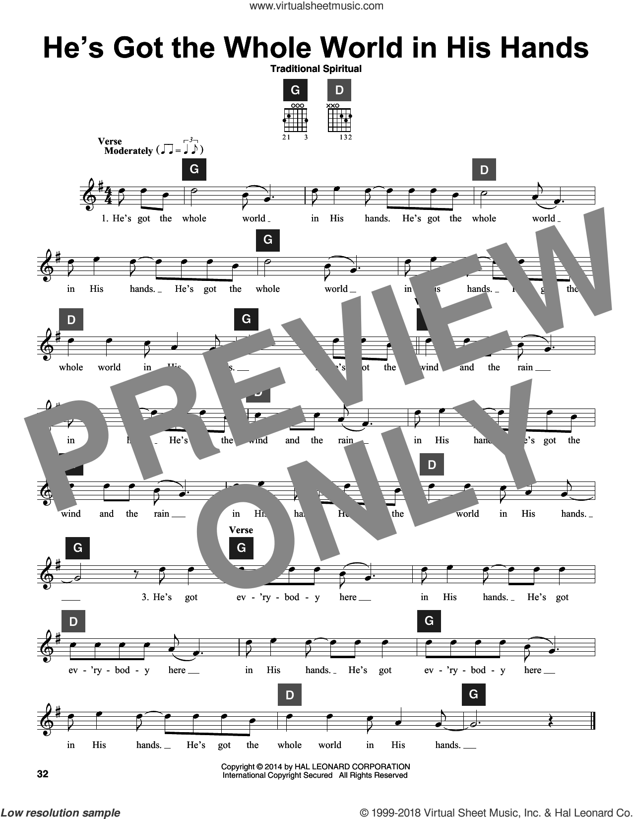 He's Got The Whole World In His Hands sheet music for guitar solo (ChordBuddy system). Score Image Preview.