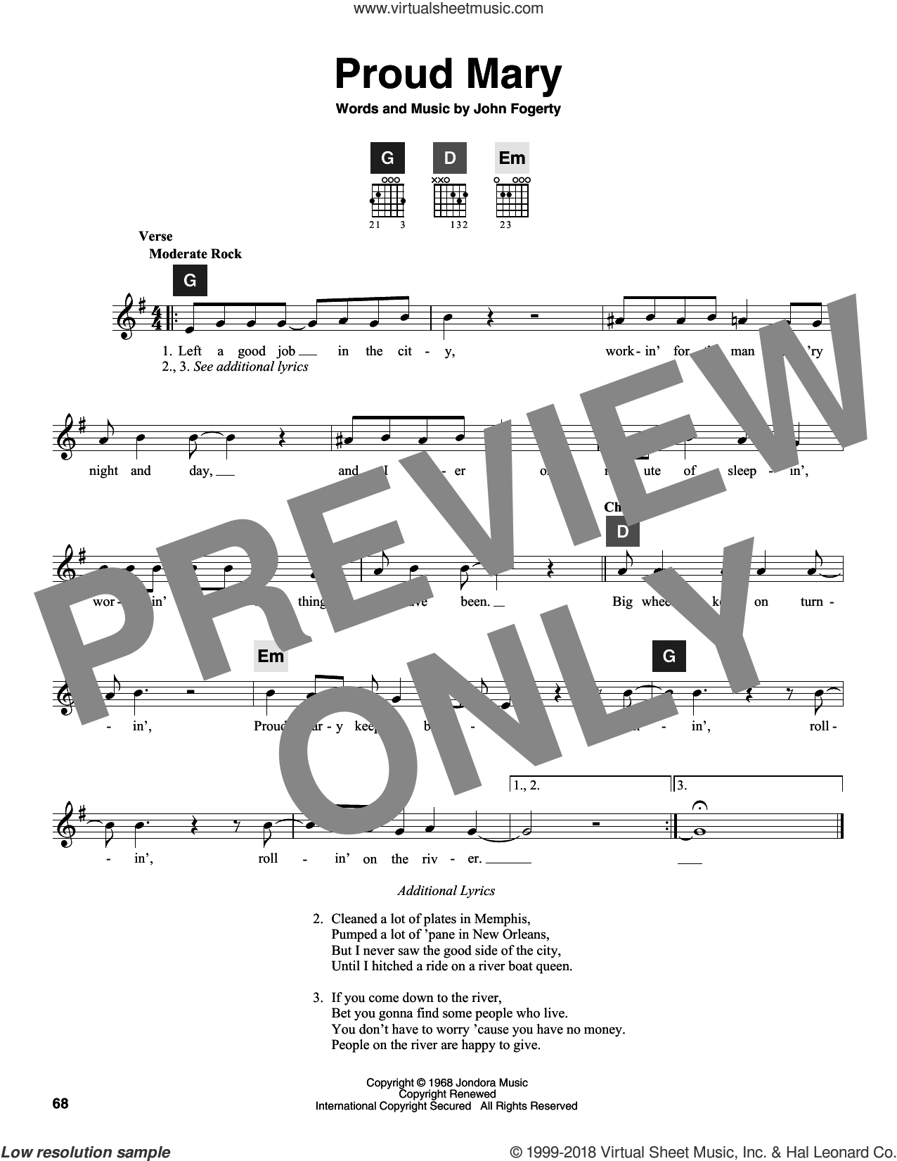 Proud Mary sheet music for guitar solo (ChordBuddy system) by Creedence Clearwater Revival, Ike & Tina Turner, Travis Perry and John Fogerty. Score Image Preview.