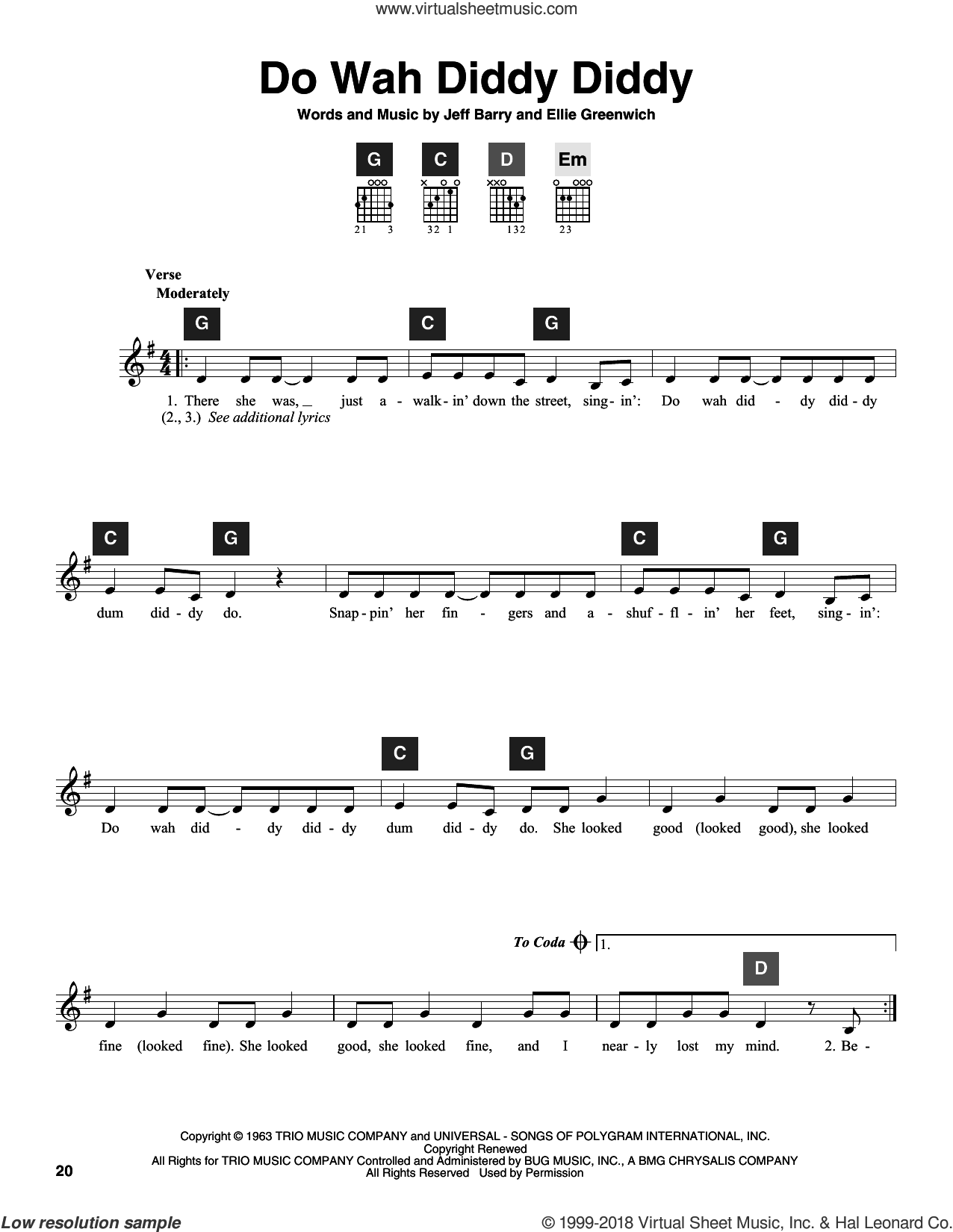 Do Wah Diddy Diddy sheet music for guitar solo (ChordBuddy system) by Manfred Mann, Travis Perry, Ellie Greenwich and Jeff Barry, intermediate guitar (ChordBuddy system). Score Image Preview.
