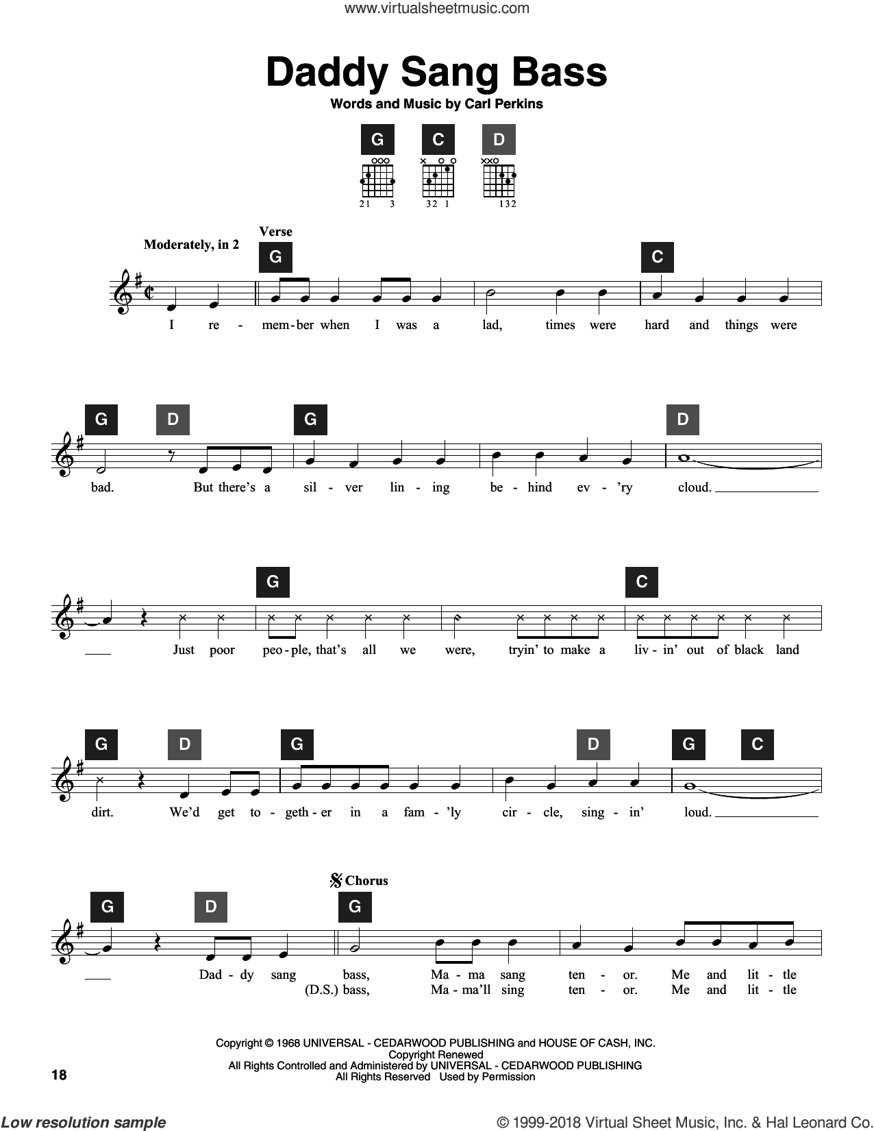 Daddy Sang Bass sheet music for guitar solo (ChordBuddy system) by Johnny Cash, Travis Perry and Carl Perkins. Score Image Preview.