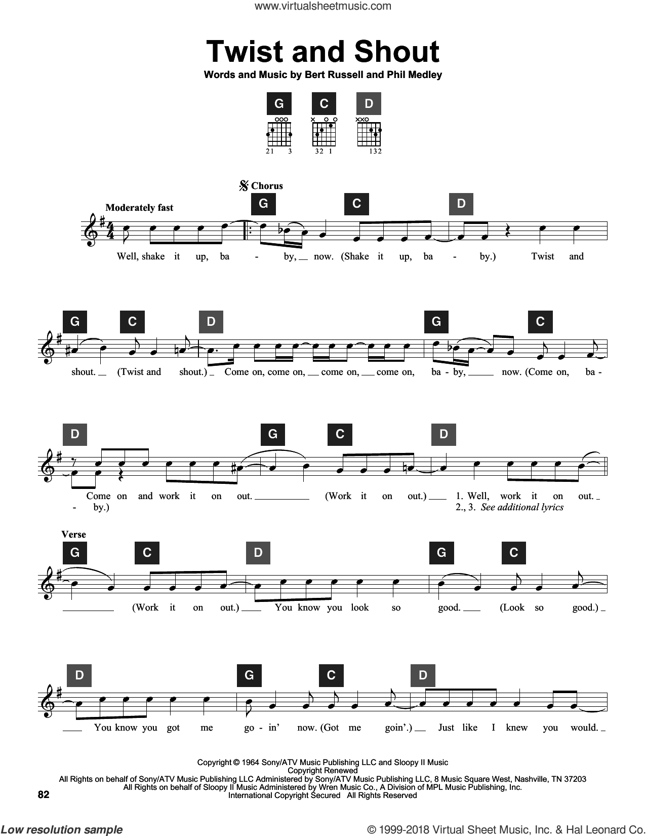 Twist And Shout sheet music for guitar solo (ChordBuddy system) by The Beatles, The Isley Brothers and Travis Perry, intermediate guitar (ChordBuddy system). Score Image Preview.