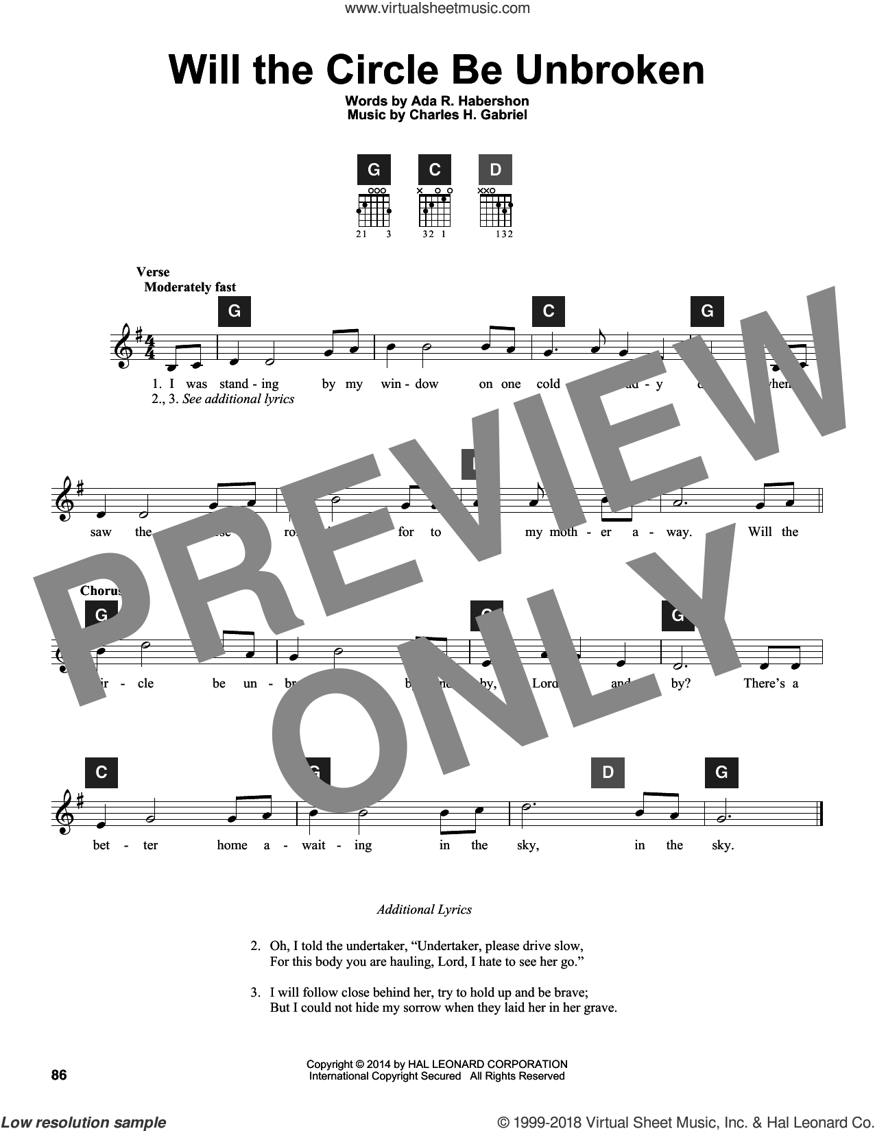 Will The Circle Be Unbroken sheet music for guitar solo (ChordBuddy system) by Charles H. Gabriel, Travis Perry and Ada R. Habershon, intermediate guitar (ChordBuddy system)