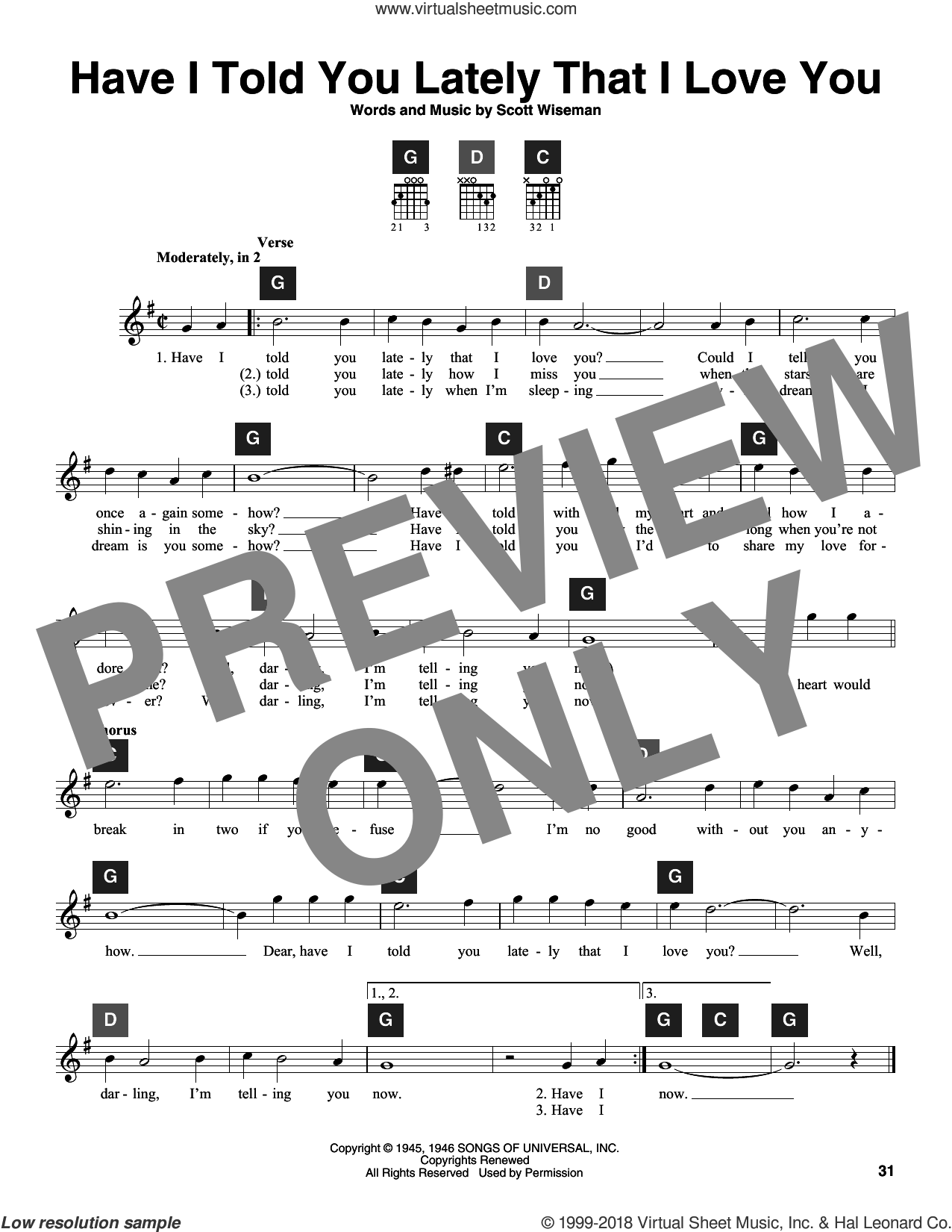 Have I Told You Lately That I Love You sheet music for guitar solo (ChordBuddy system) by Scott Wiseman, Gene Autrey, Kitty Wells & Red Foley, Ricky Nelson and Travis Perry, intermediate guitar (ChordBuddy system)