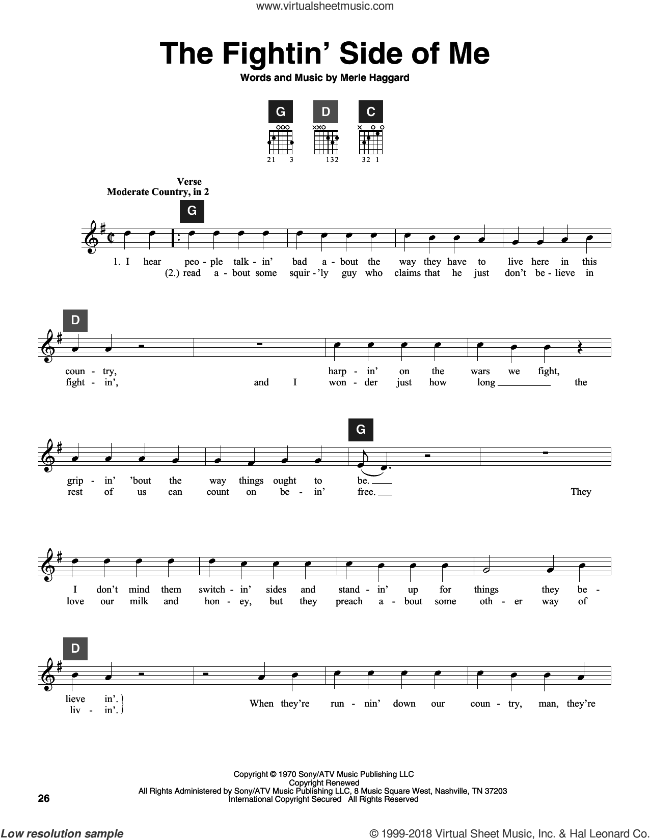 The Fightin' Side Of Me sheet music for guitar solo (ChordBuddy system) by Merle Haggard. Score Image Preview.