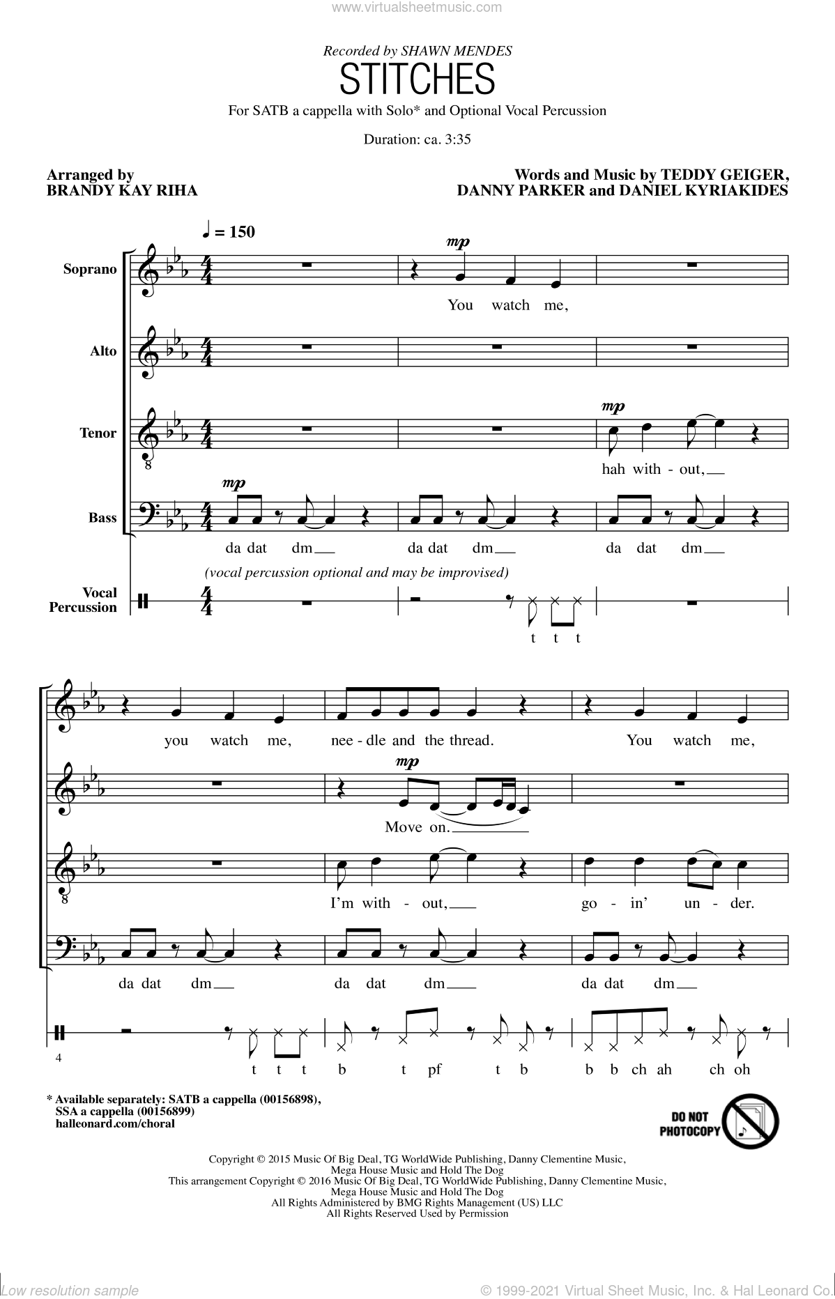 Stitches sheet music for choir (SATB) by Brandy Kay Riha, Shawn Mendes and Teddy Geiger. Score Image Preview.