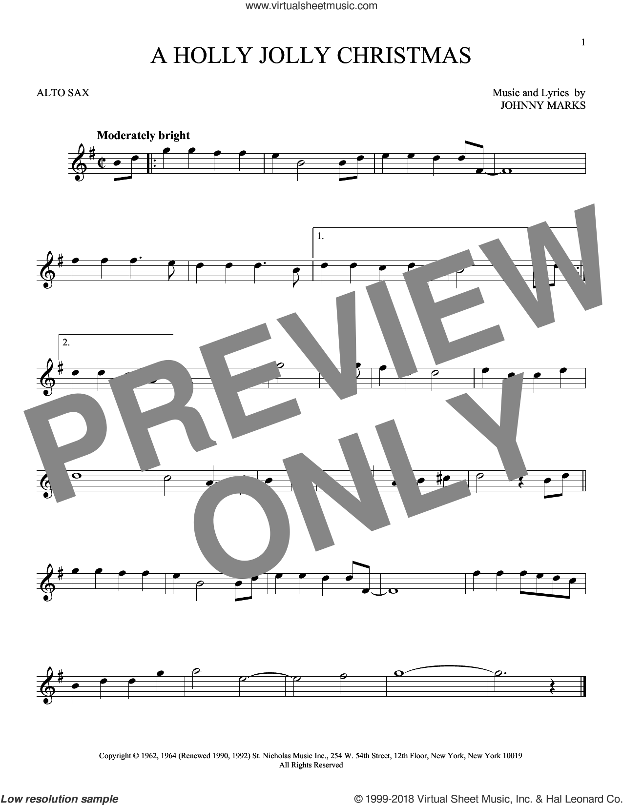 A Holly Jolly Christmas sheet music for alto saxophone solo by Johnny Marks, intermediate skill level