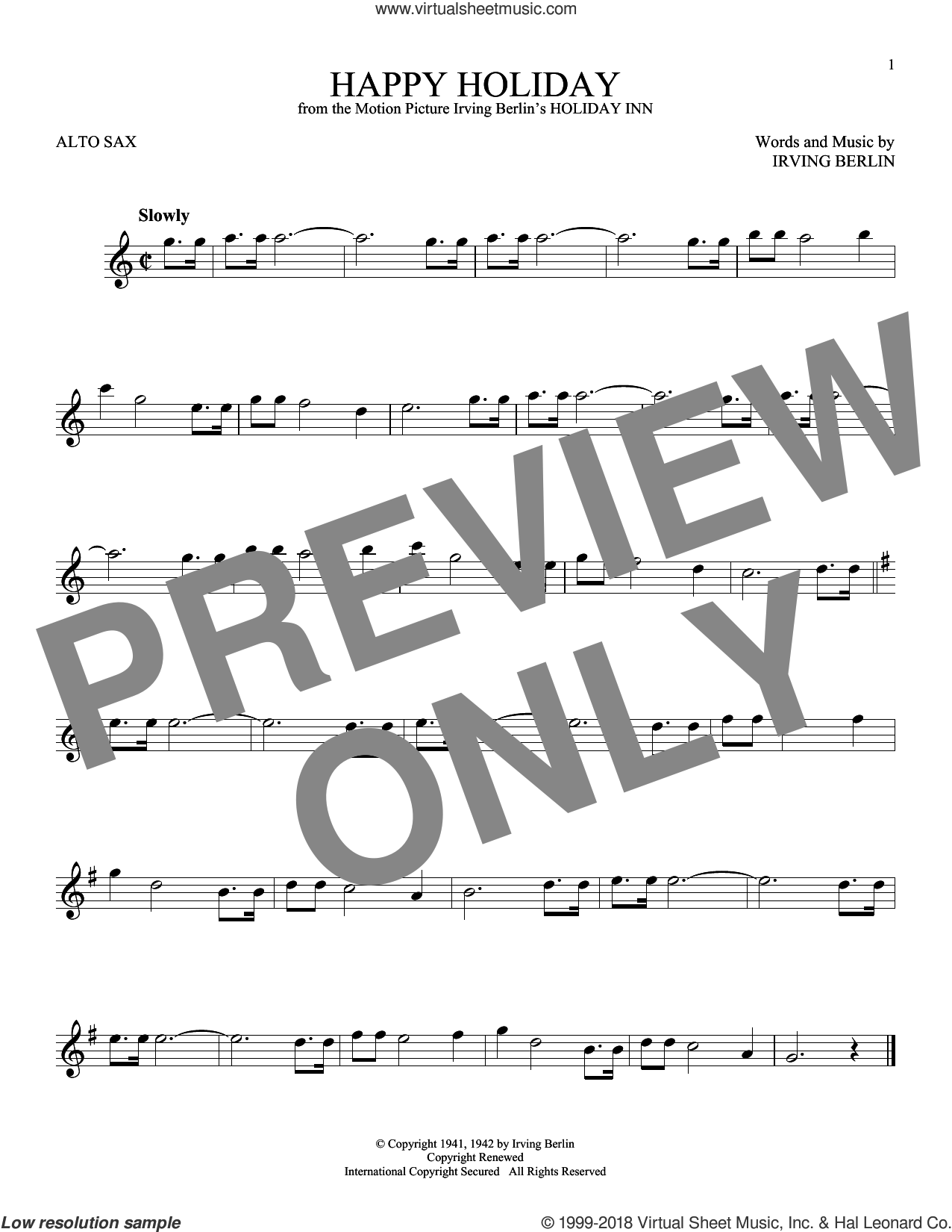 Happy Holiday sheet music for alto saxophone solo by Irving Berlin, intermediate skill level