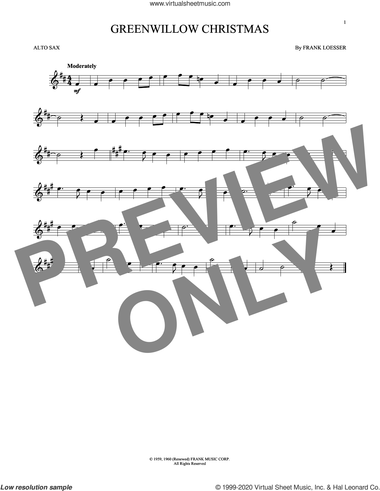 Greenwillow Christmas sheet music for alto saxophone solo by Frank Loesser, intermediate skill level