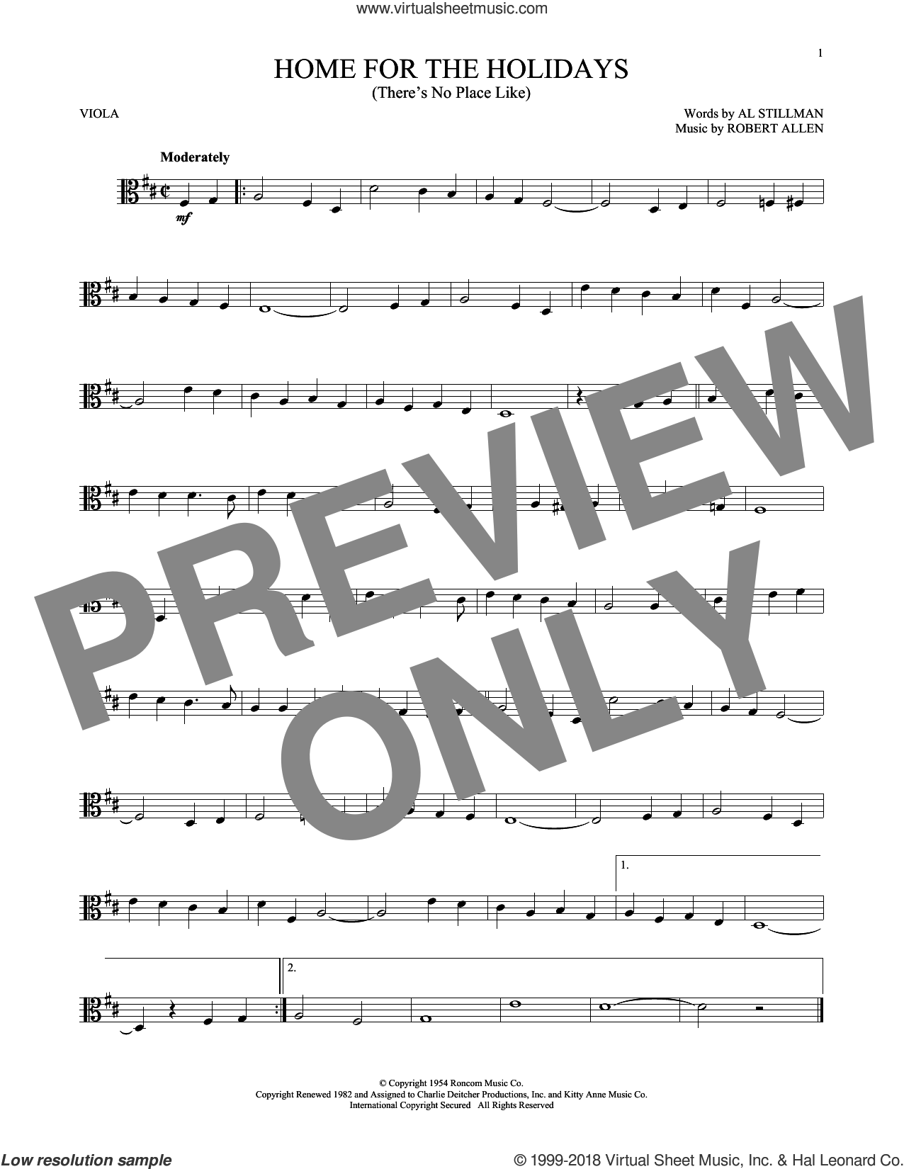 (There's No Place Like) Home For The Holidays sheet music for viola solo by Perry Como, Al Stillman and Robert Allen, intermediate skill level