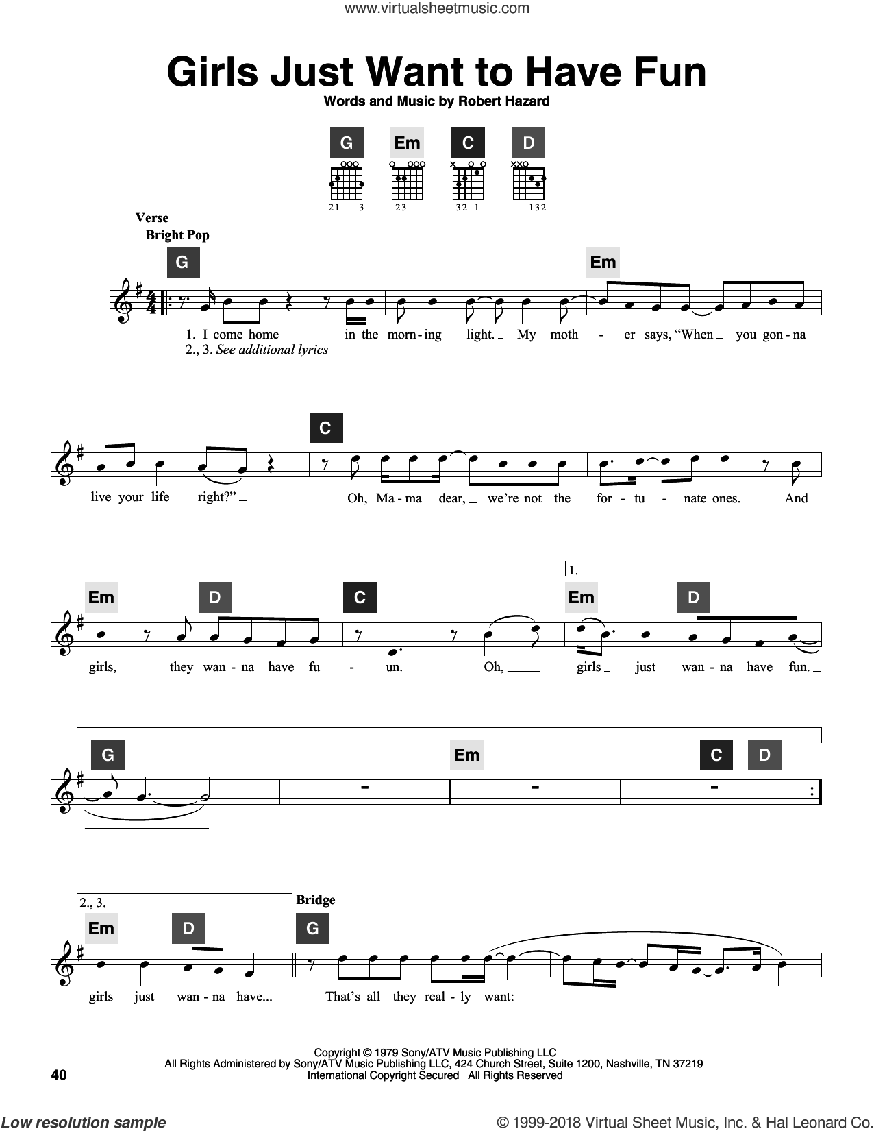 Girls Just Want To Have Fun sheet music for guitar solo (ChordBuddy system) by Cyndi Lauper, Miley Cyrus and Robert Hazard, intermediate guitar (ChordBuddy system)
