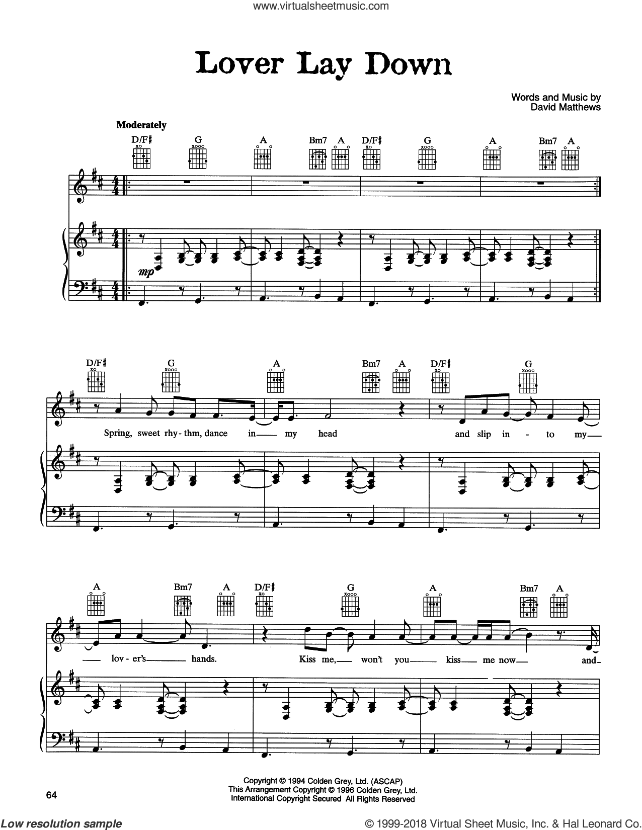 Lover Lay Down sheet music for voice, piano or guitar by Dave Matthews Band. Score Image Preview.