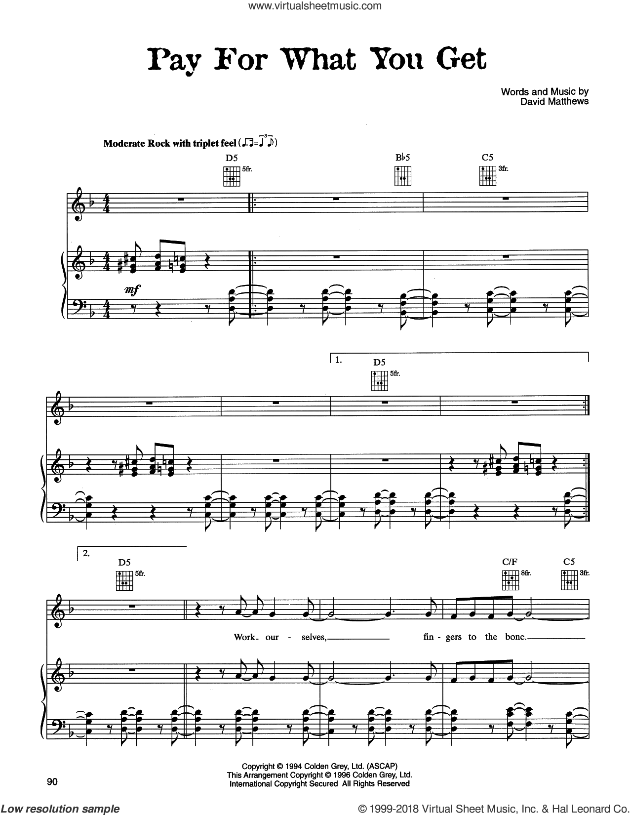 Pay For What You Get sheet music for voice, piano or guitar by Dave Matthews Band, intermediate