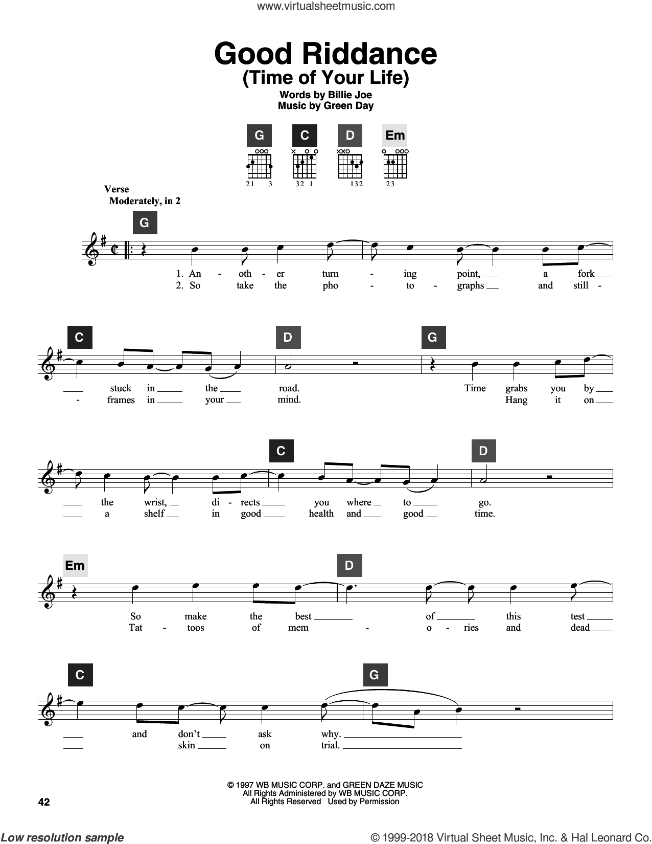Good Riddance (Time Of Your Life) sheet music for guitar solo (ChordBuddy system) by Green Day and Billie Joe, intermediate guitar (ChordBuddy system)
