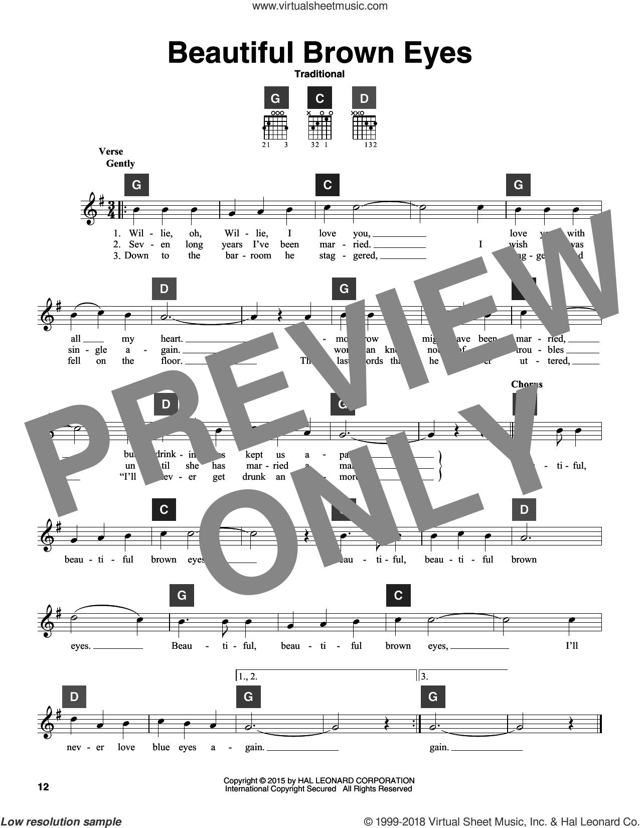 Beautiful Brown Eyes sheet music for guitar solo (ChordBuddy system). Score Image Preview.