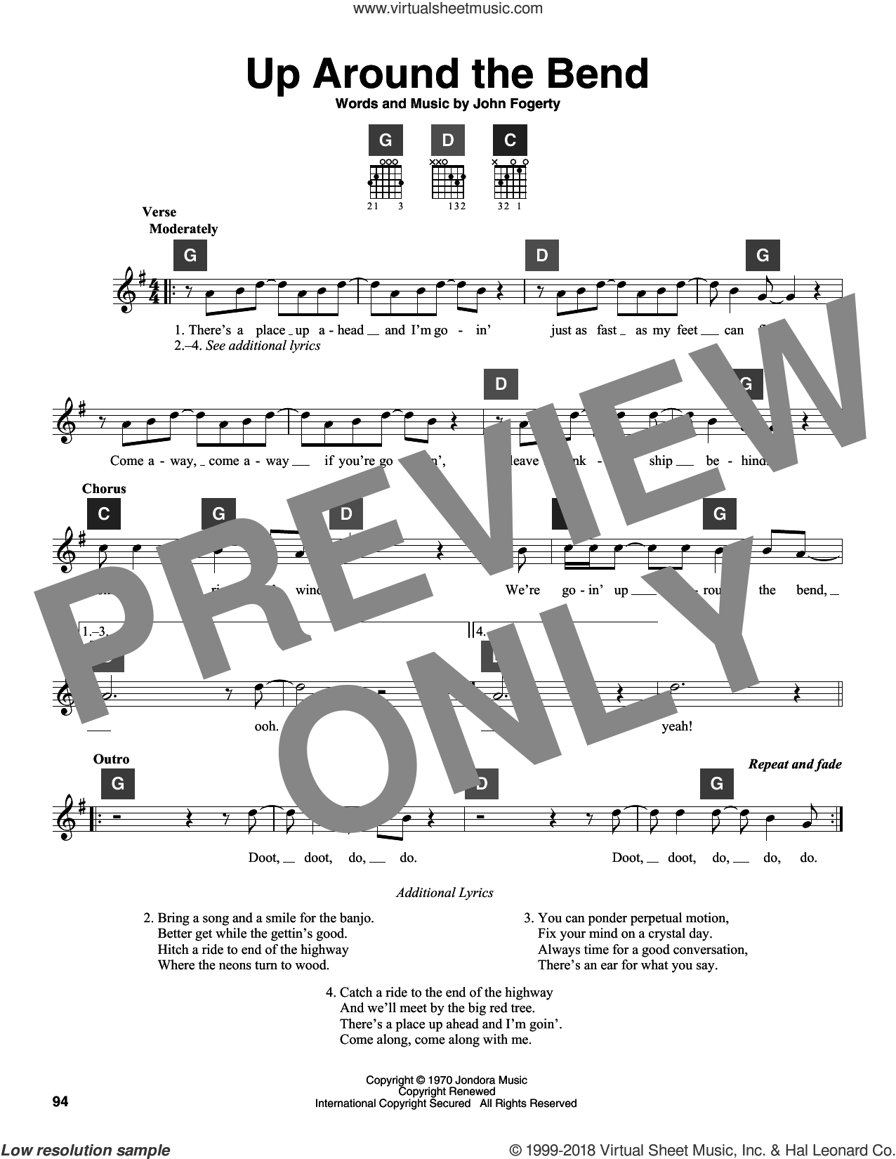 Up Around The Bend sheet music for guitar solo (ChordBuddy system) by Creedence Clearwater Revival and John Fogerty, intermediate guitar (ChordBuddy system). Score Image Preview.