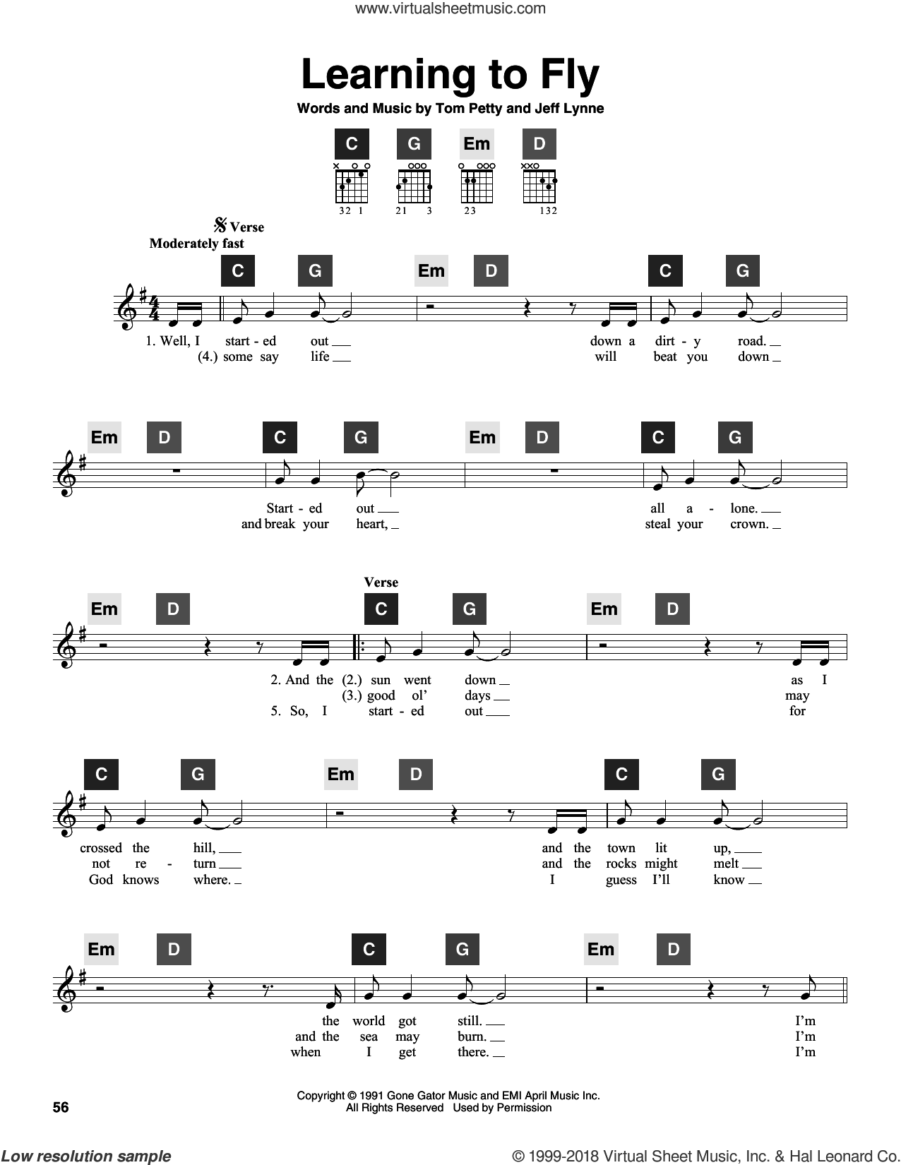 Learning To Fly sheet music for guitar solo (ChordBuddy system) by Tom Petty and Jeff Lynne, intermediate guitar (ChordBuddy system)